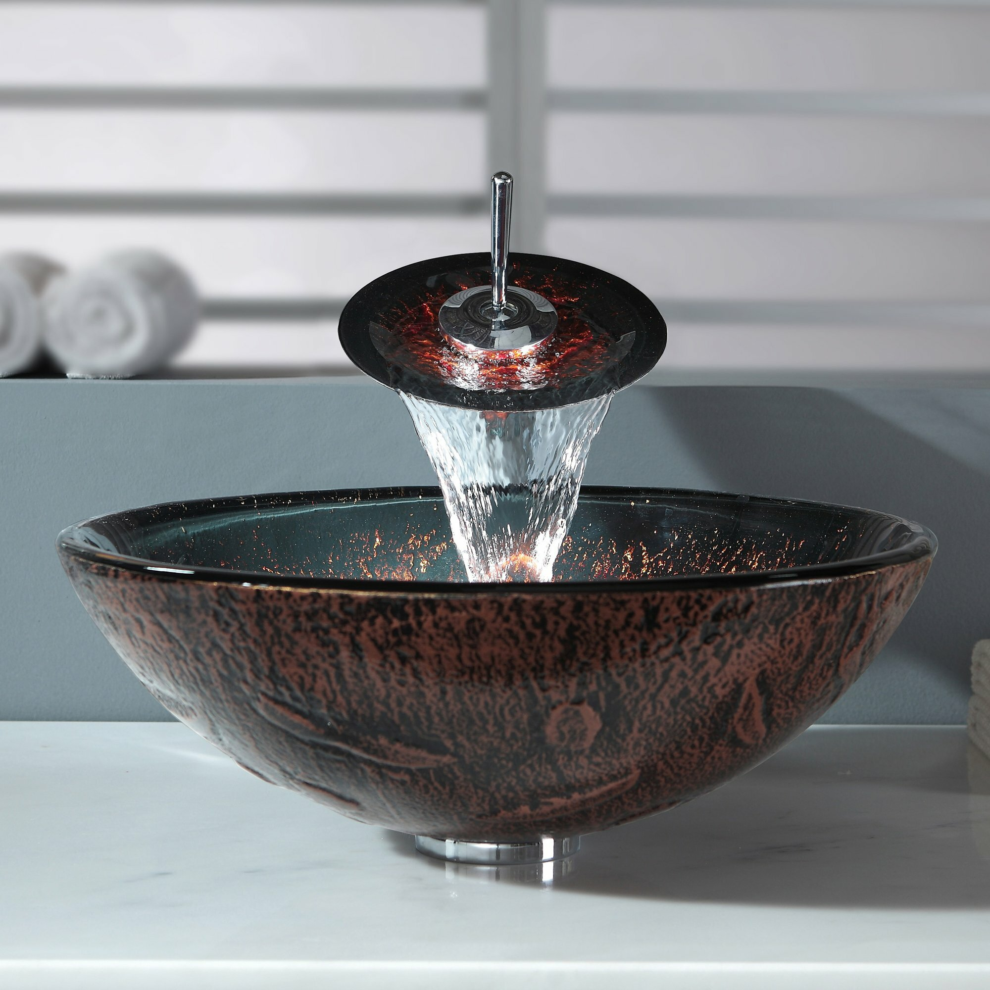 Kraus Vessel Sinks : Lava Glass Vessel Sink and Waterfall Faucet Wayfair