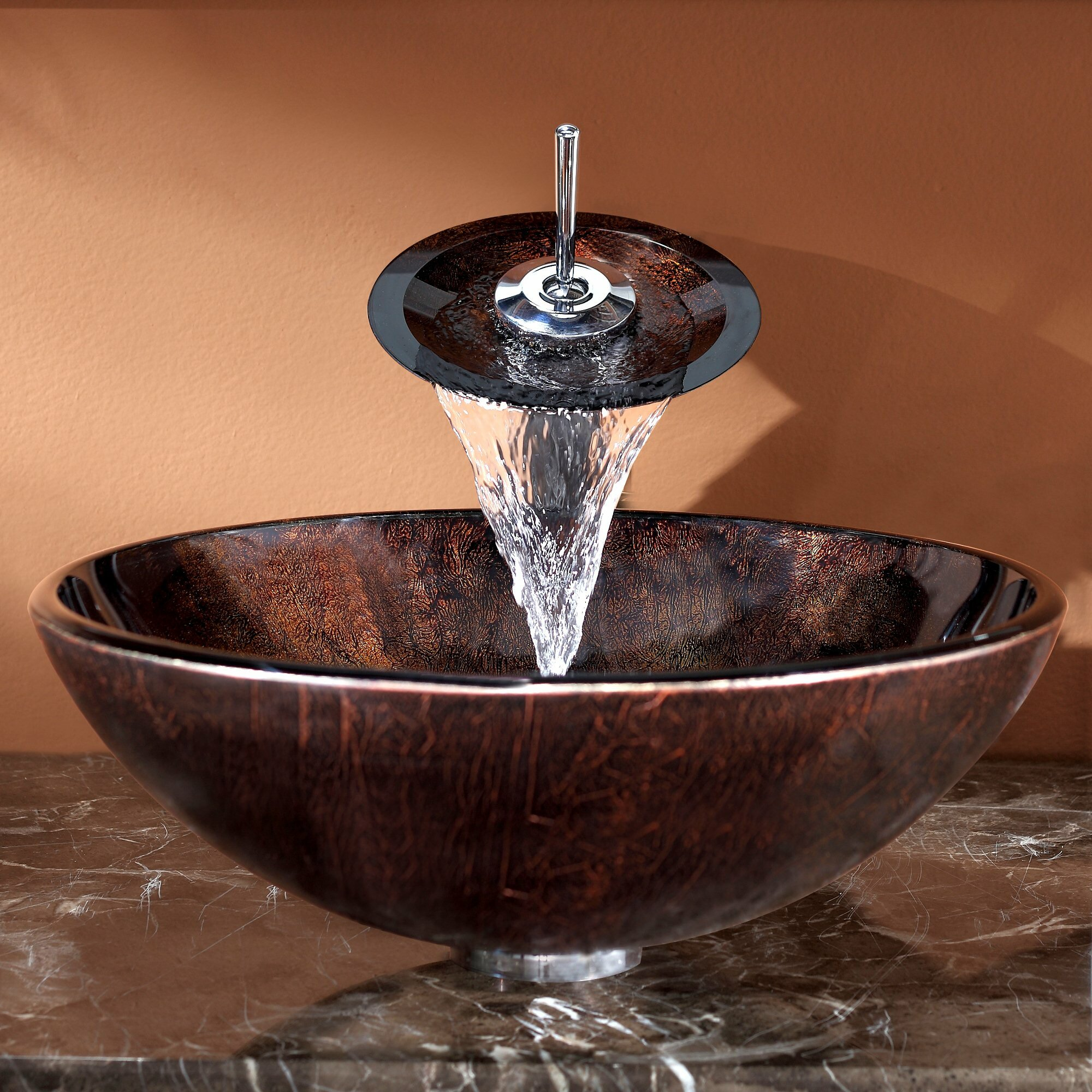Kraus Pluto Vessel Bathroom Sink With Waterfall Faucet