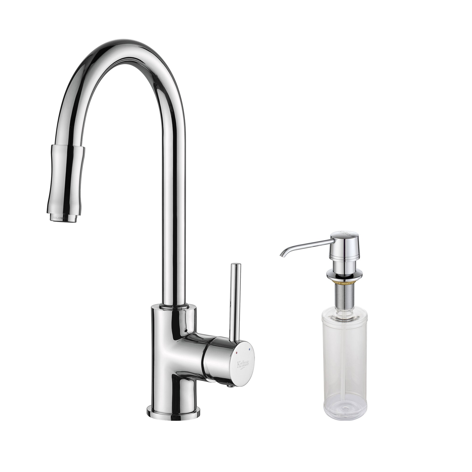 single handle pull down kitchen faucet set with spray and