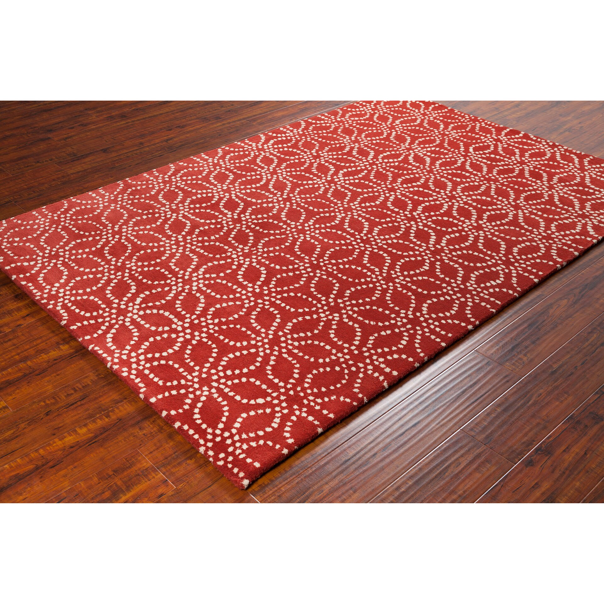 Chandra Stella Patterned Contemporary Wool Red White Area