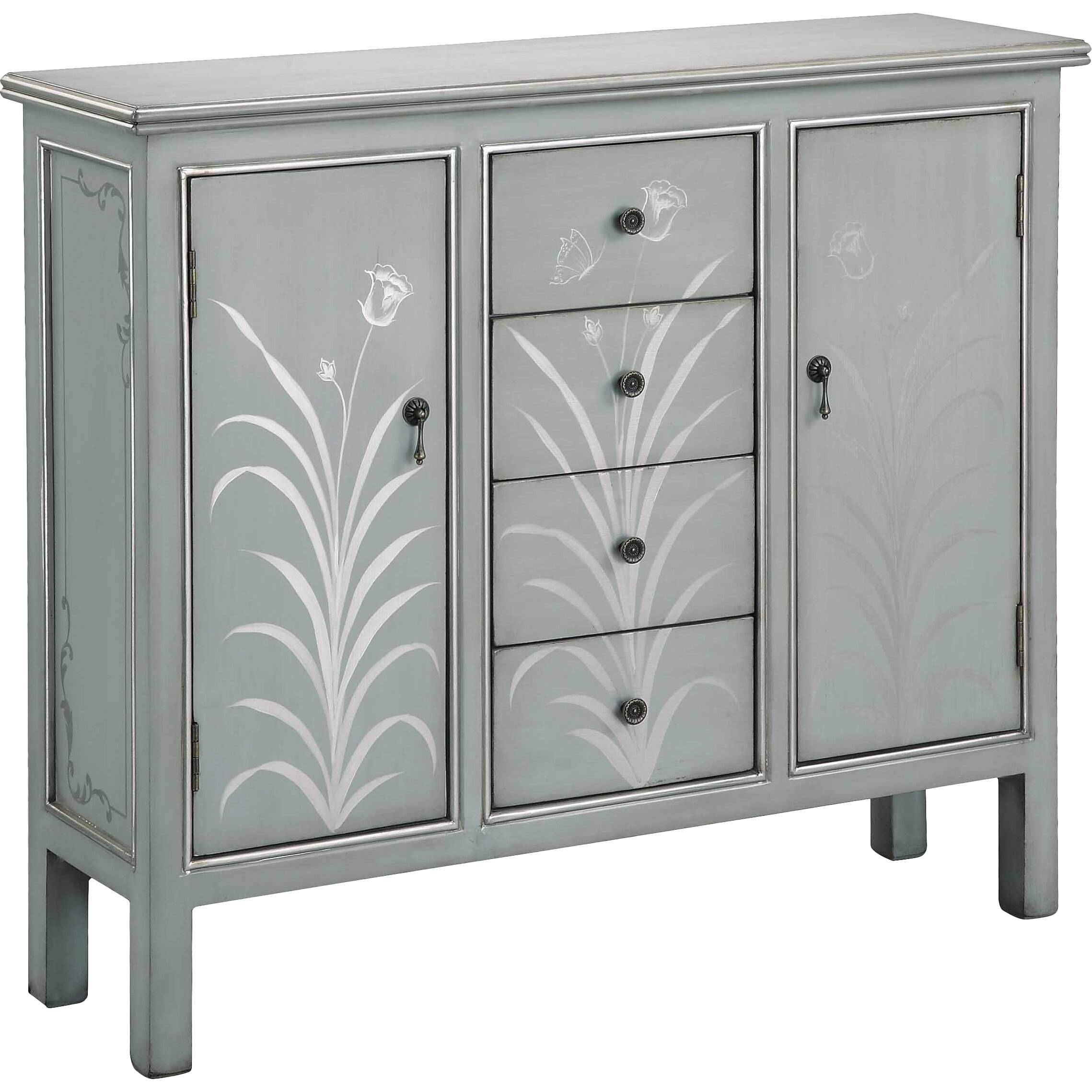 Accent Cabinet In Silver Blue Gray Wayfair