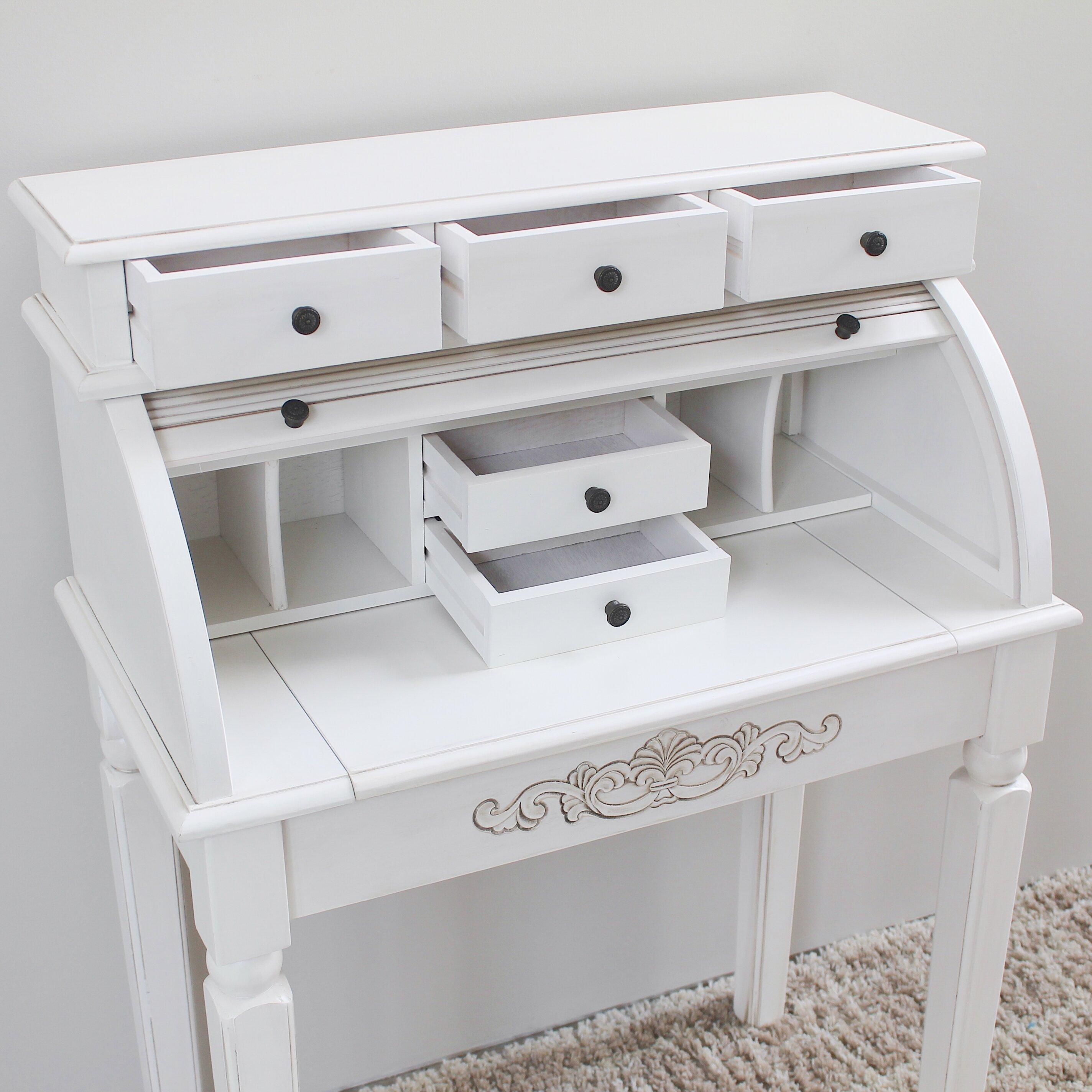 White Roll Top Desk Desk