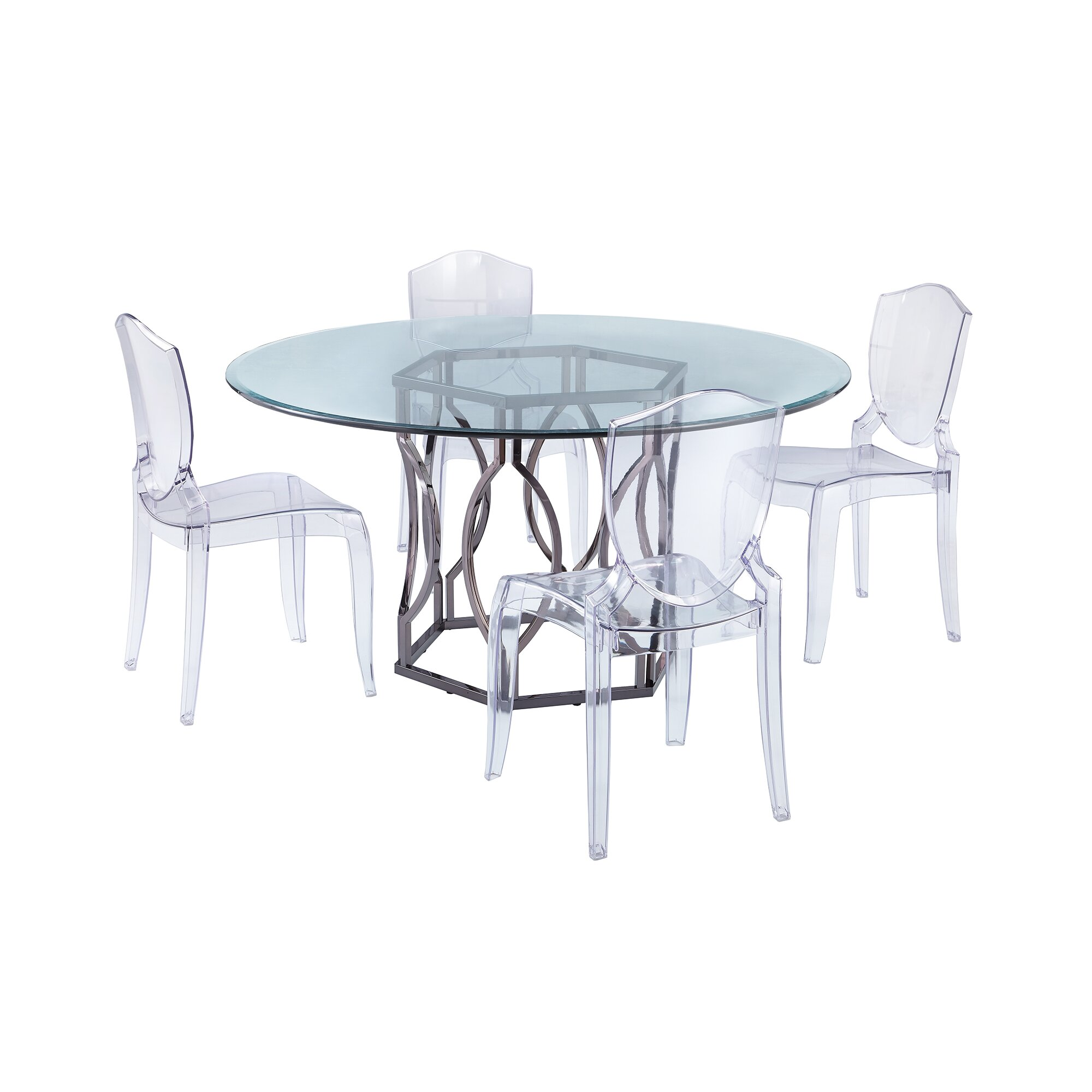 Round Glass Kitchen Tables: Viggo Round Glass Dining Table