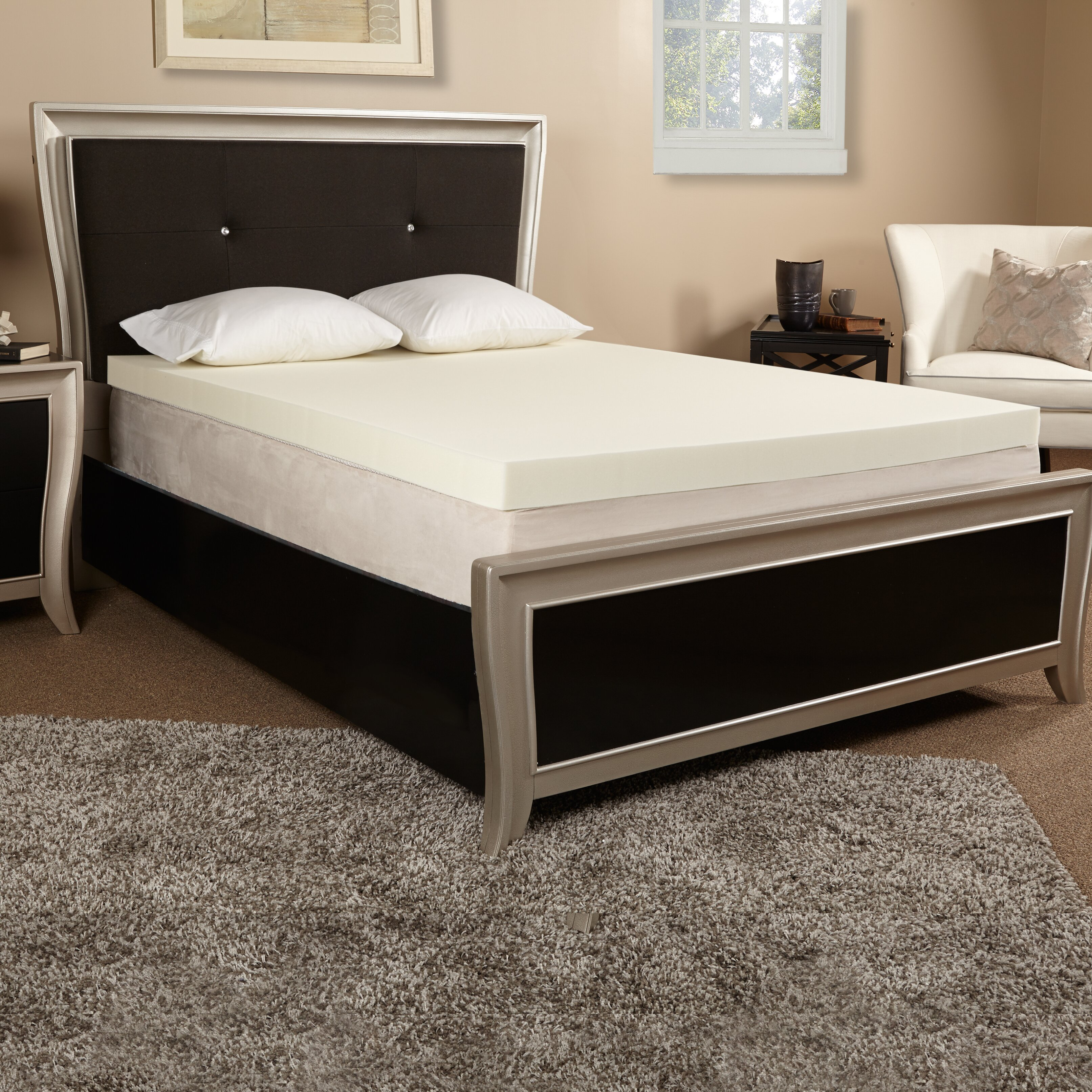 luxury solutions 4 memory foam mattress topper reviews wayfair. Black Bedroom Furniture Sets. Home Design Ideas