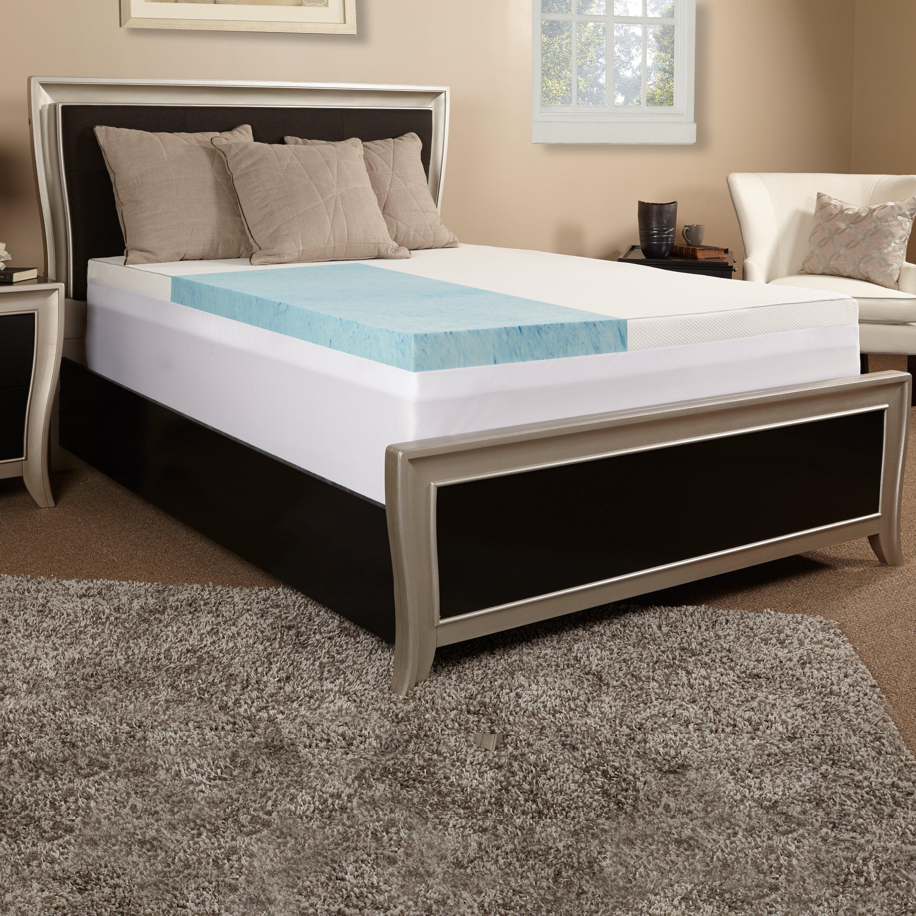 """Luxury Solutions 3"""" Gel Memory Foam Mattress Topper w"""