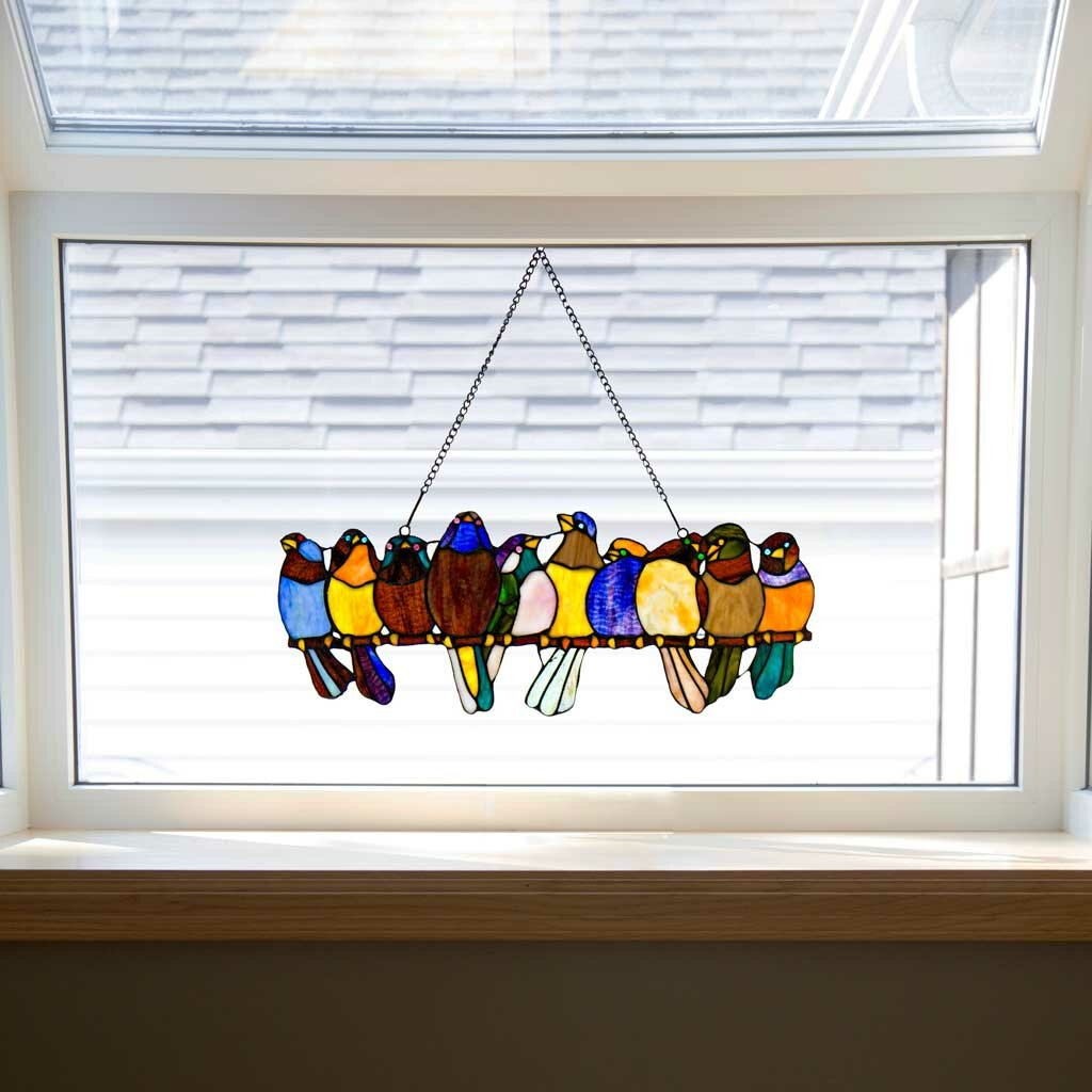 River Of Goods Birds On A Wire Tiffany Style Stained