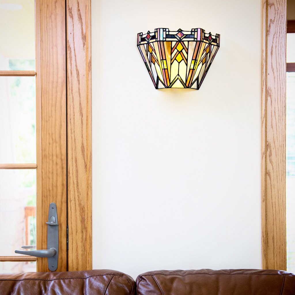 Wall Sconces Mission Style : Mission Style Stained Glass Wireless LED Wall Sconce Wayfair