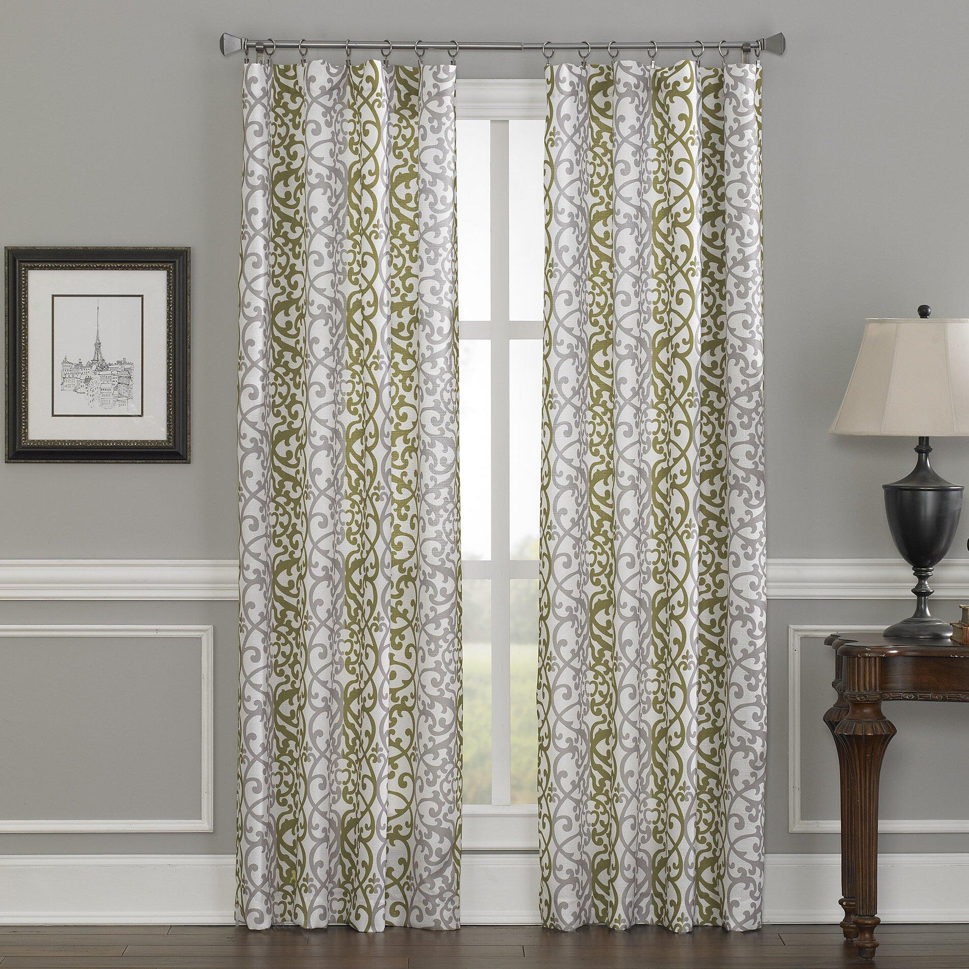 Damask Stripe Single Curtain Panel