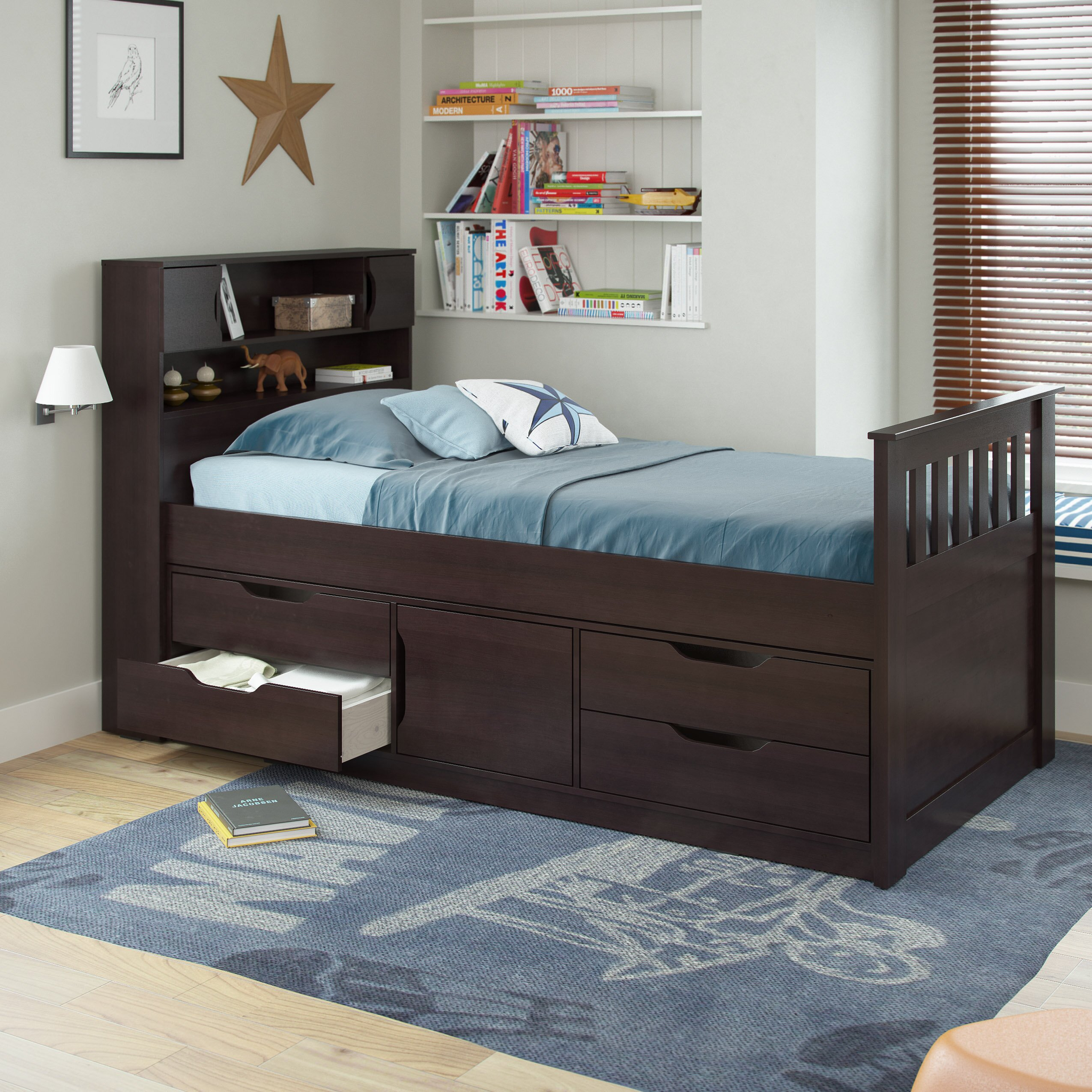 madison twin captain bed with storage wayfair. Black Bedroom Furniture Sets. Home Design Ideas