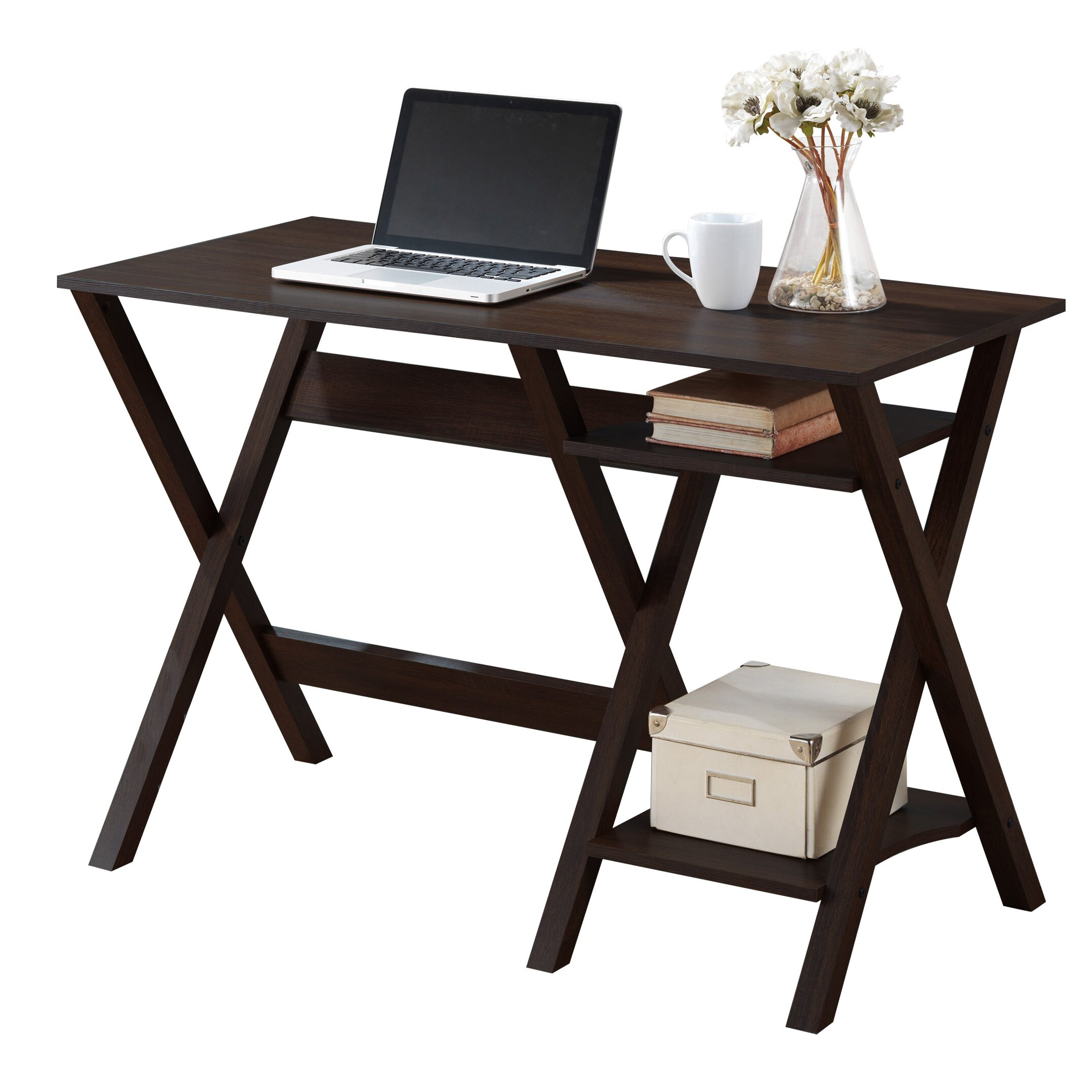 Very Impressive portraiture of CorLiving Folio Writing Desk with 2 Lower Shelves & Reviews Wayfair with #7C604A color and 2150x2150 pixels