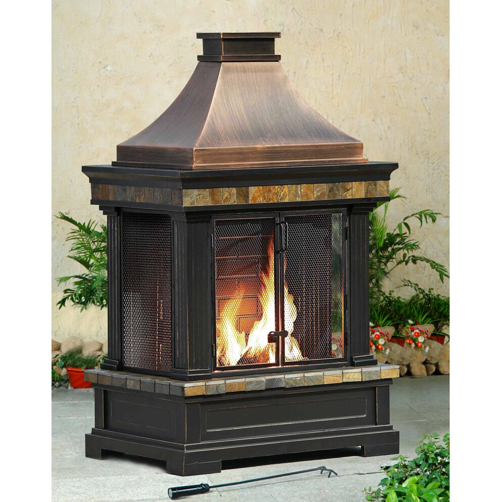 Wooden Fireplace: Sunjoy Brownston Steel Wood Outdoor Fireplace & Reviews