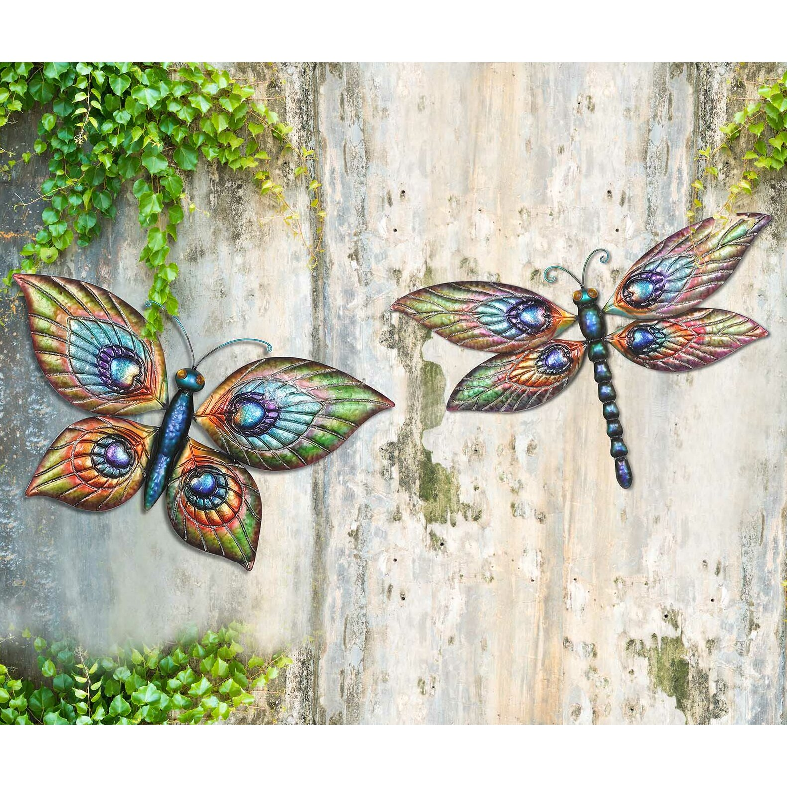Sunjoy 2 piece butterfly and dragonfly outdoor wall decor for Dragonfly mural