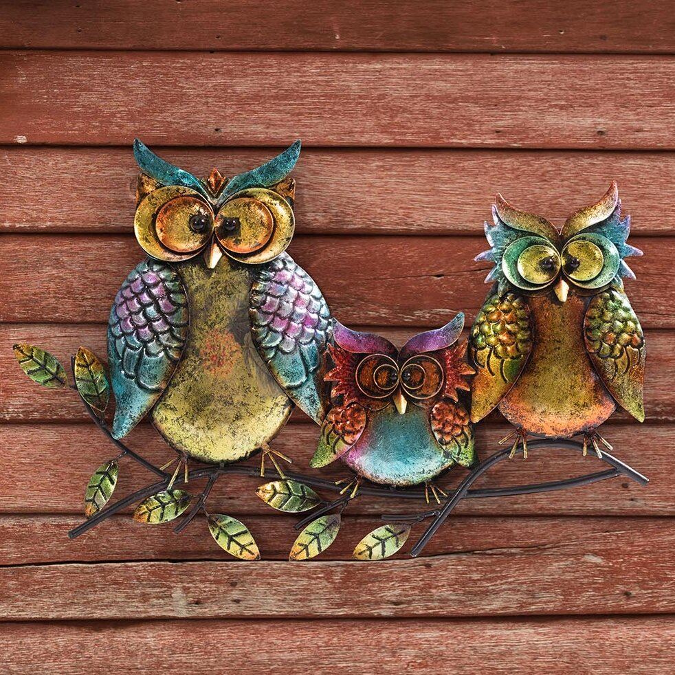 Sunjoy Owl Family Of Three Outdoor Wall Decor & Reviews