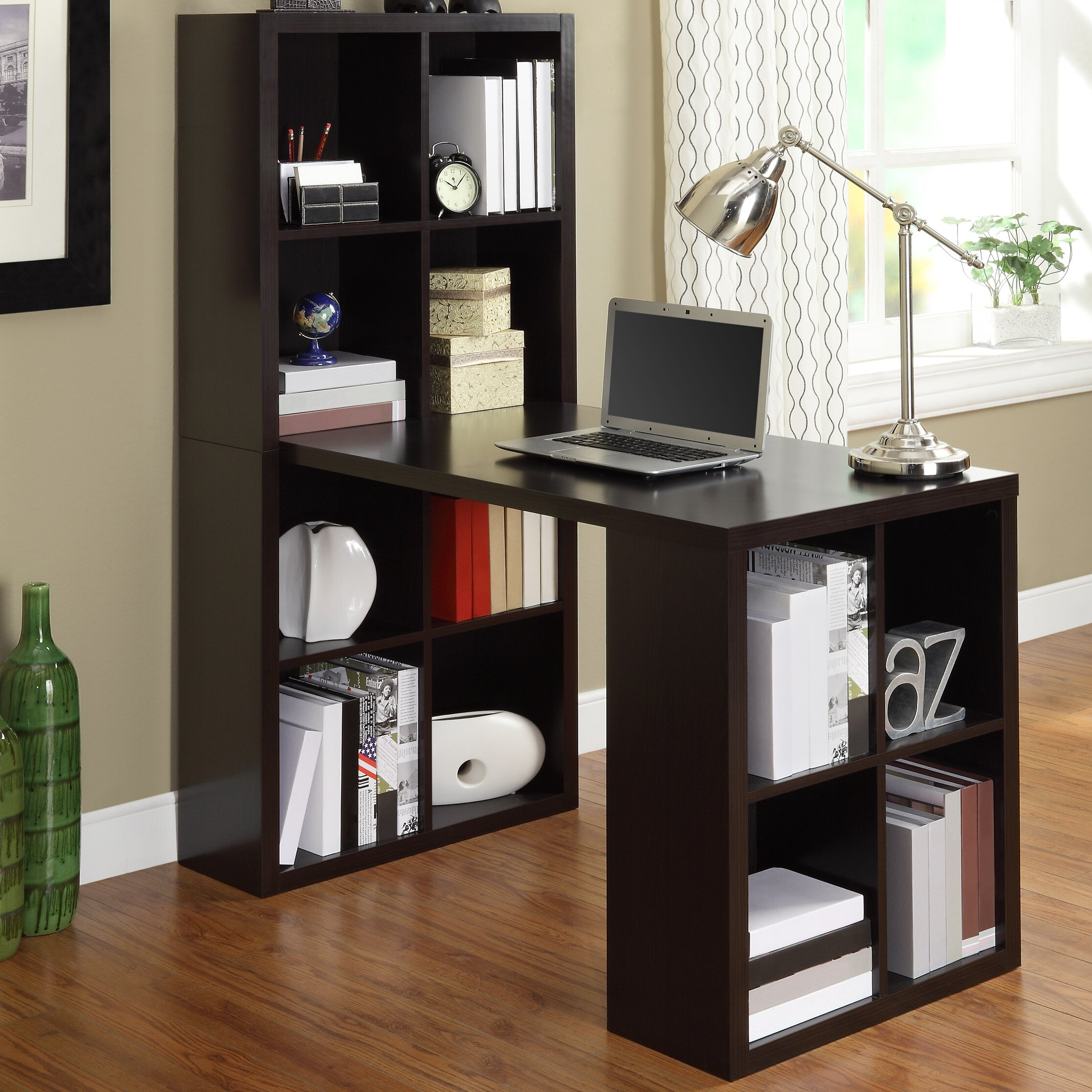 Superb img of Zipcode™ Design Kayla Writing Desk with Bookcase & Reviews Wayfair with #70462C color and 2230x2230 pixels
