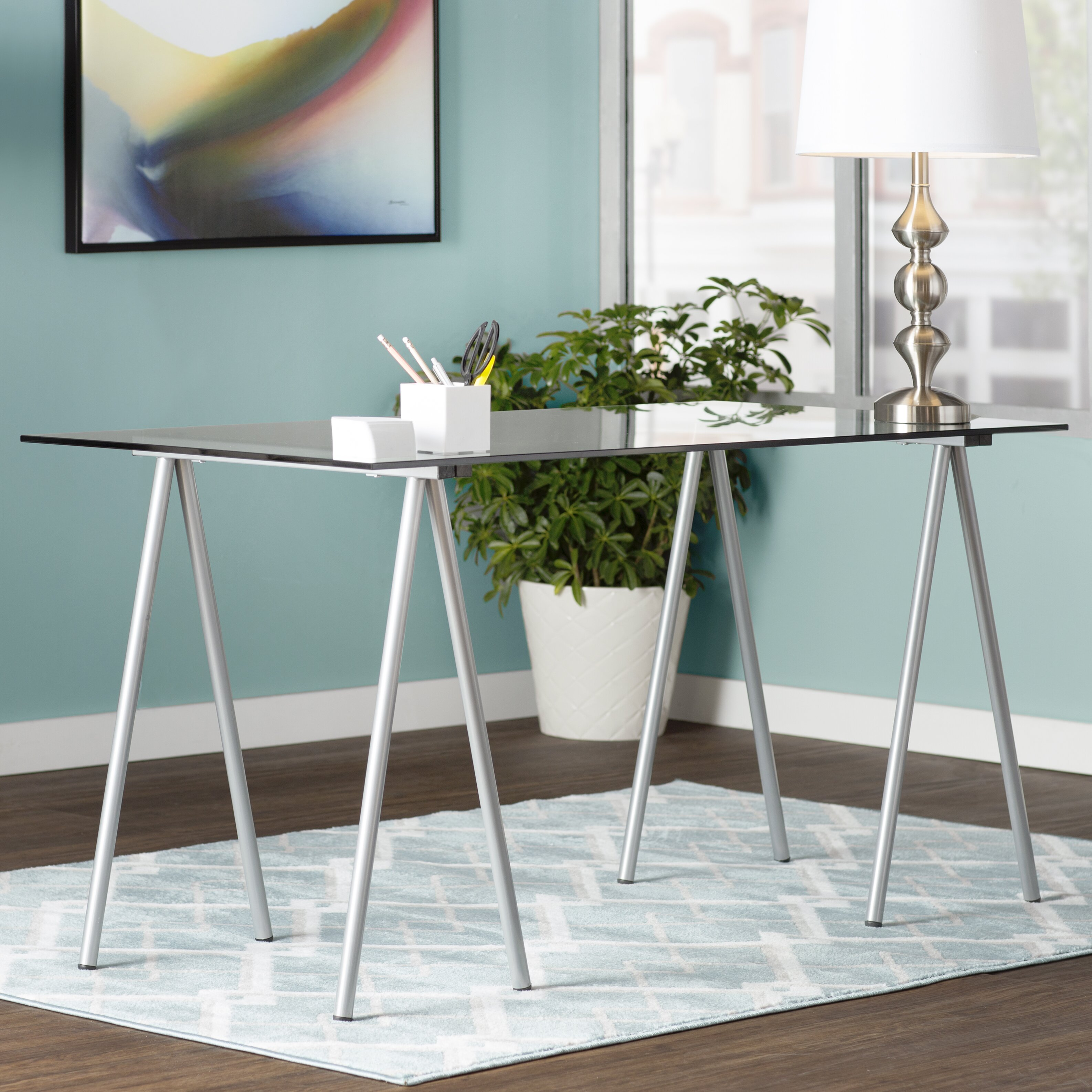 ariel writing desk with glass top wayfair. Black Bedroom Furniture Sets. Home Design Ideas