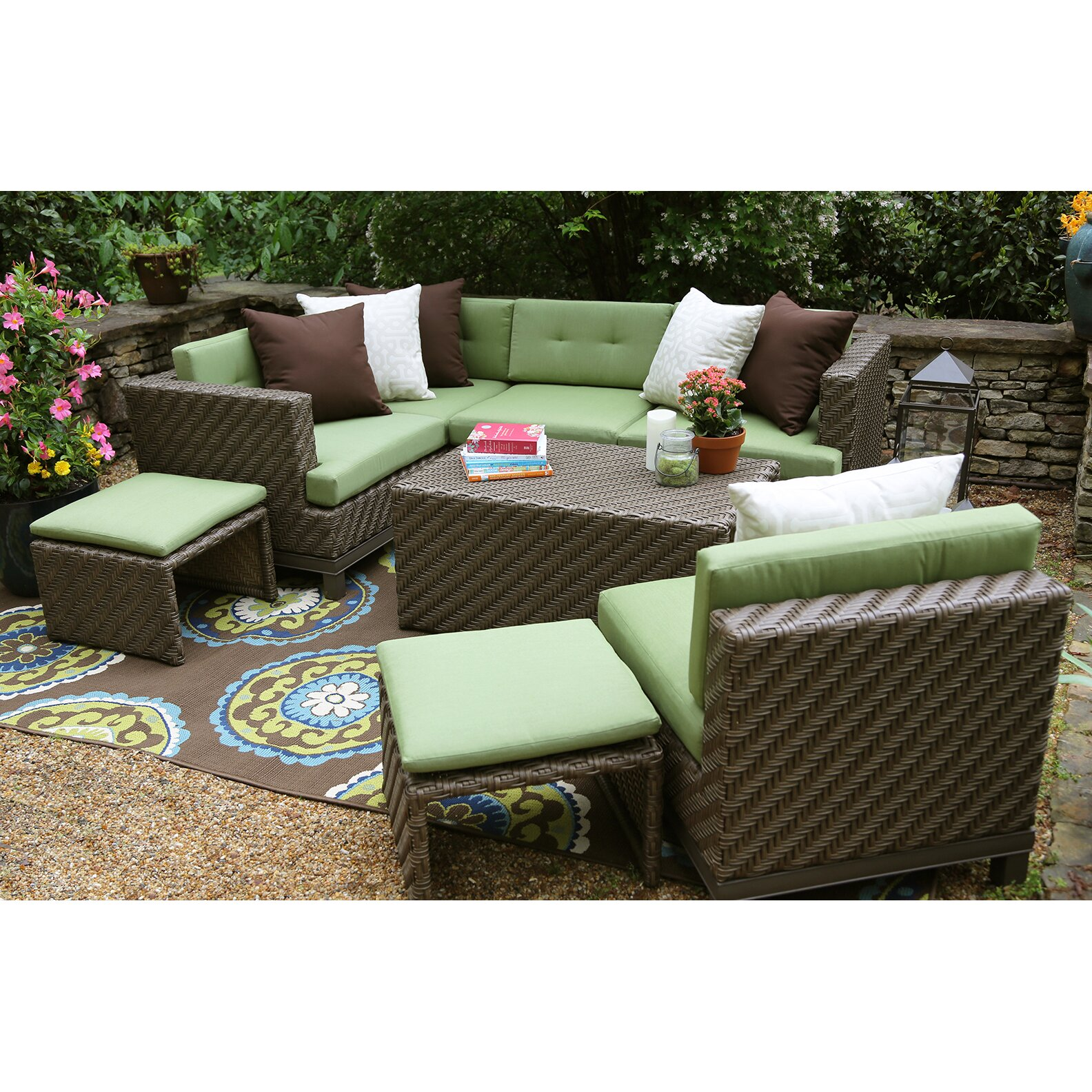 AE Outdoor Hampton 8 Piece Sectional Seating Group with ...