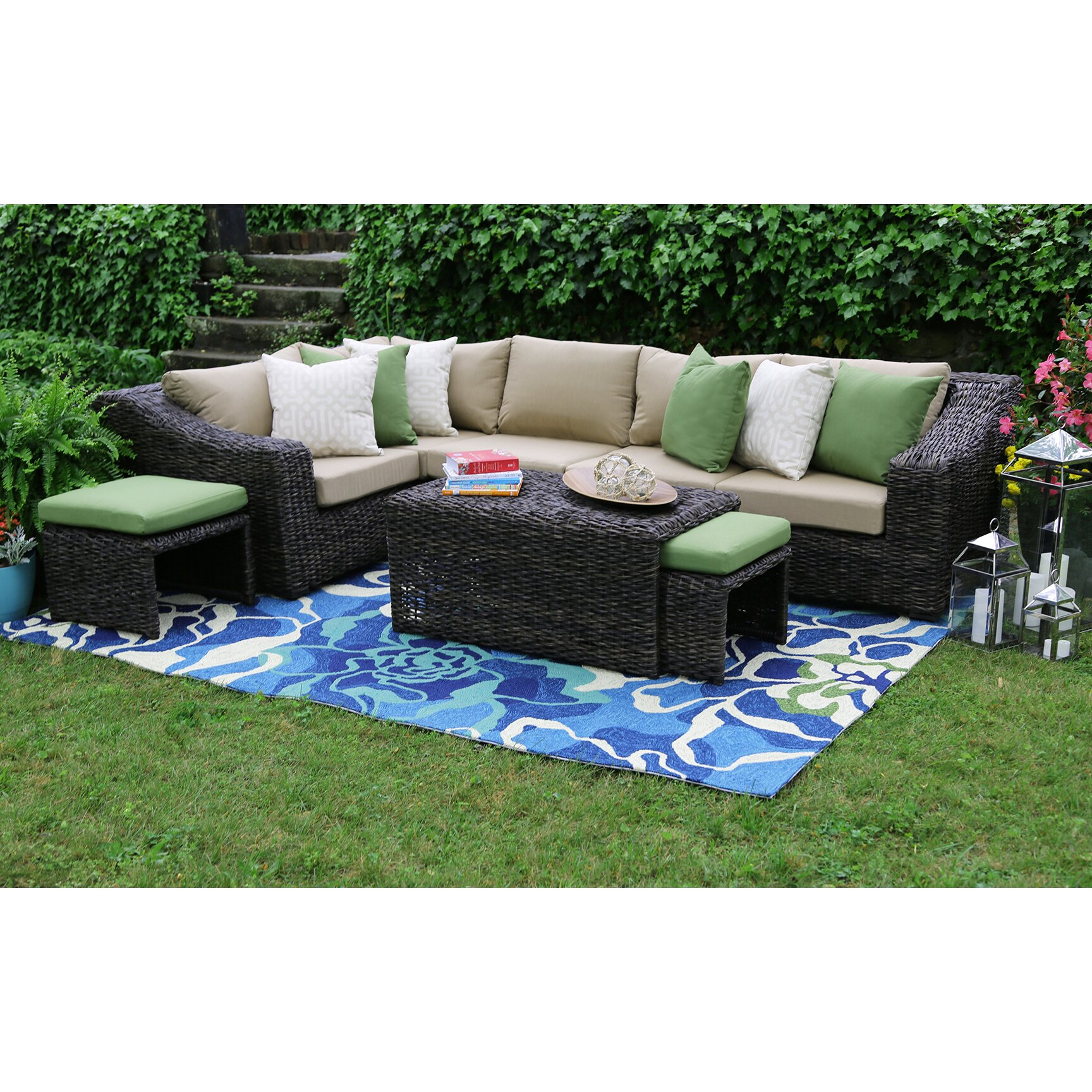 AE Outdoor Williams 8 Piece Sectional Group & Reviews ...