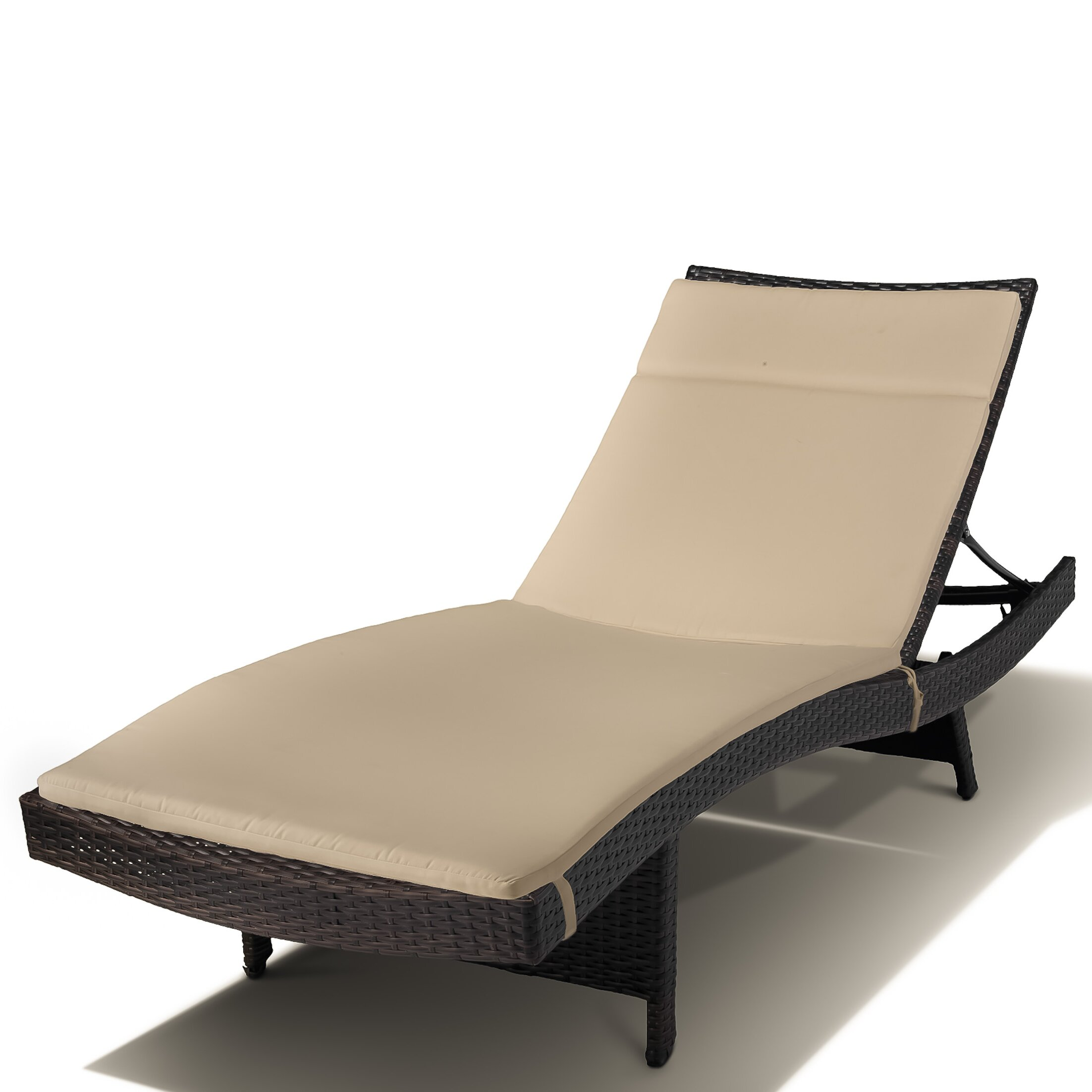 montenegro adjustable chaise lounge with beige cushions wayfair. Black Bedroom Furniture Sets. Home Design Ideas