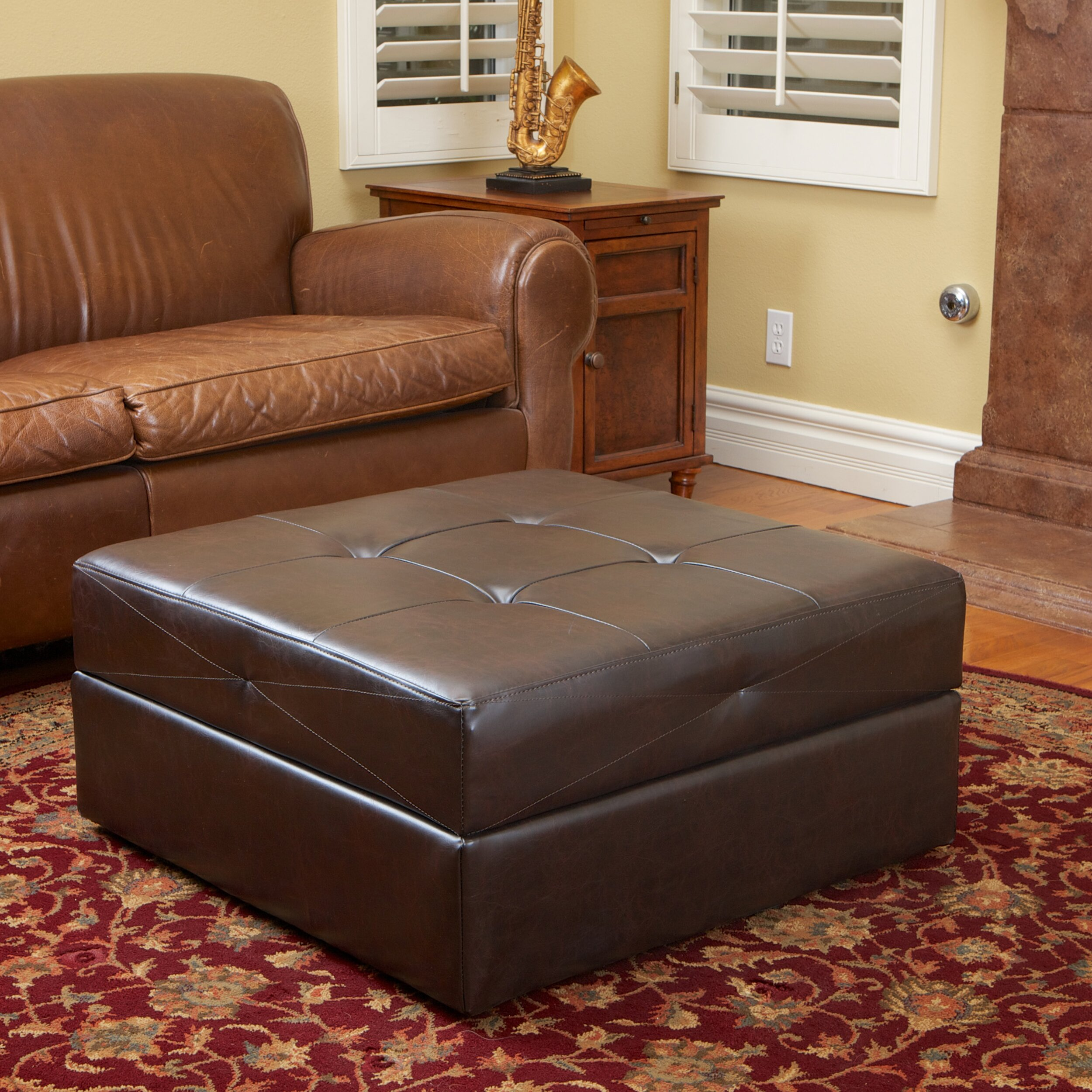 Darby Home Co Dingess Leather Storage Ottoman Reviews