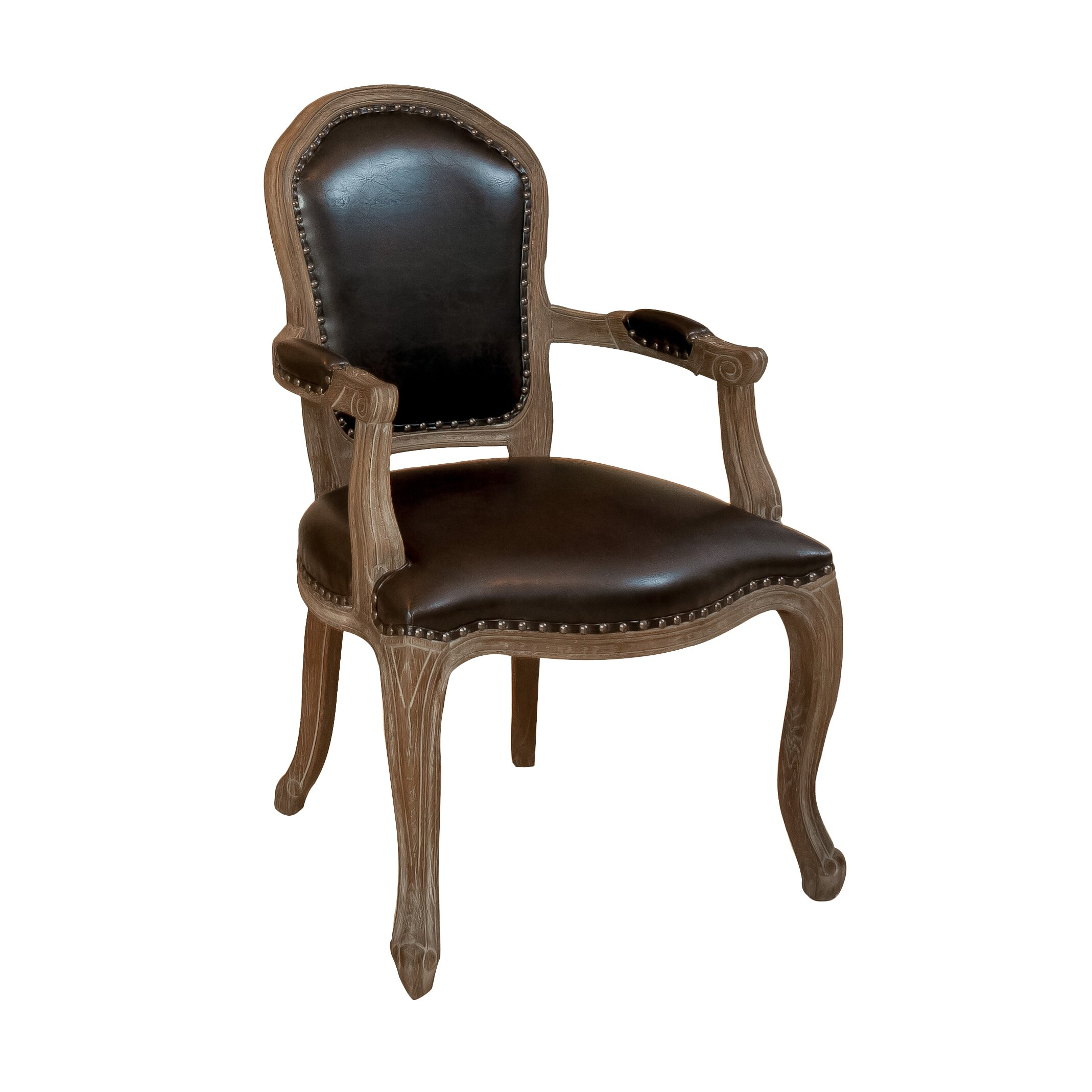 home loft concepts carolina leather weathered wood arm chair reviews wayfair. Black Bedroom Furniture Sets. Home Design Ideas