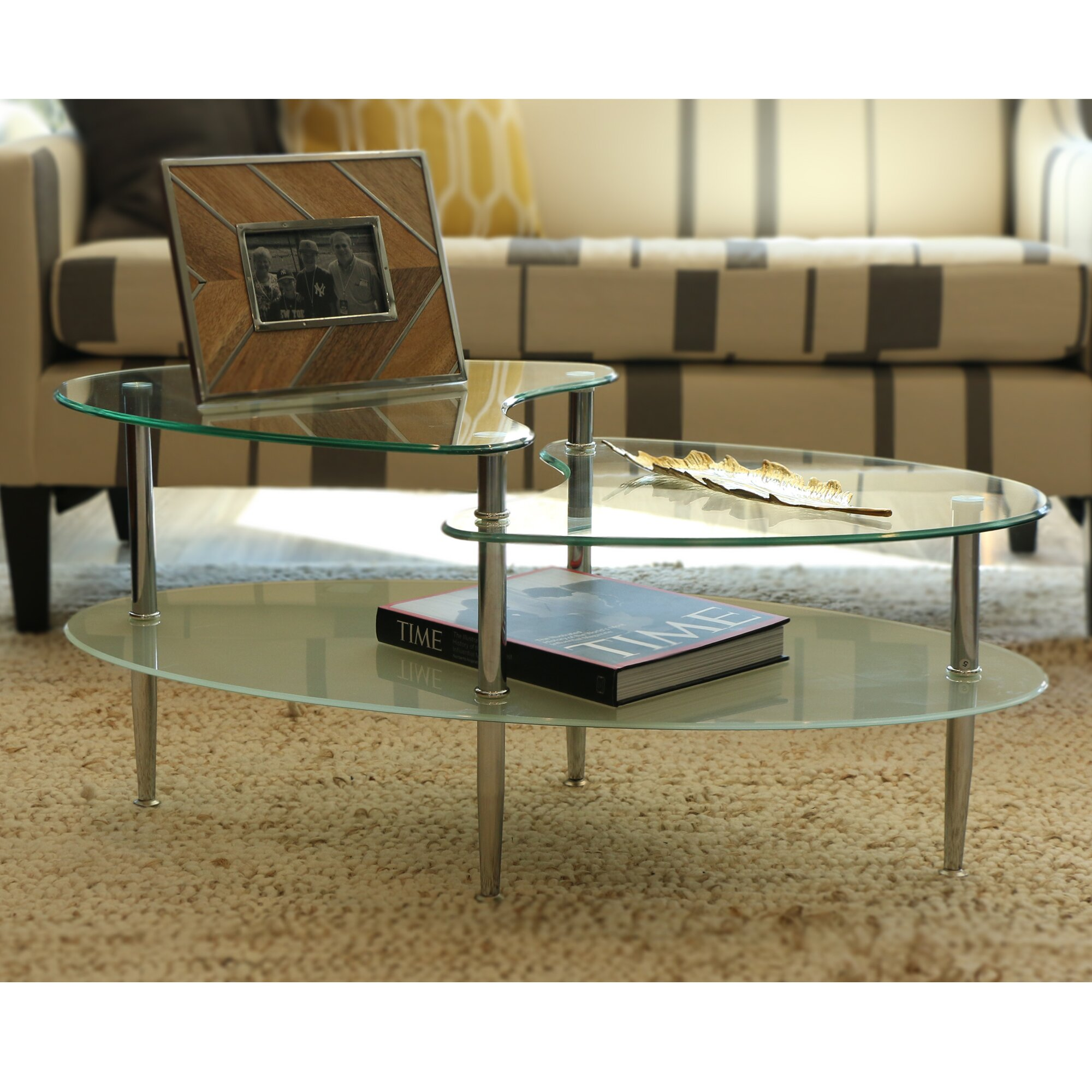 Home Loft Concepts Glass Oval Coffee Table & Reviews