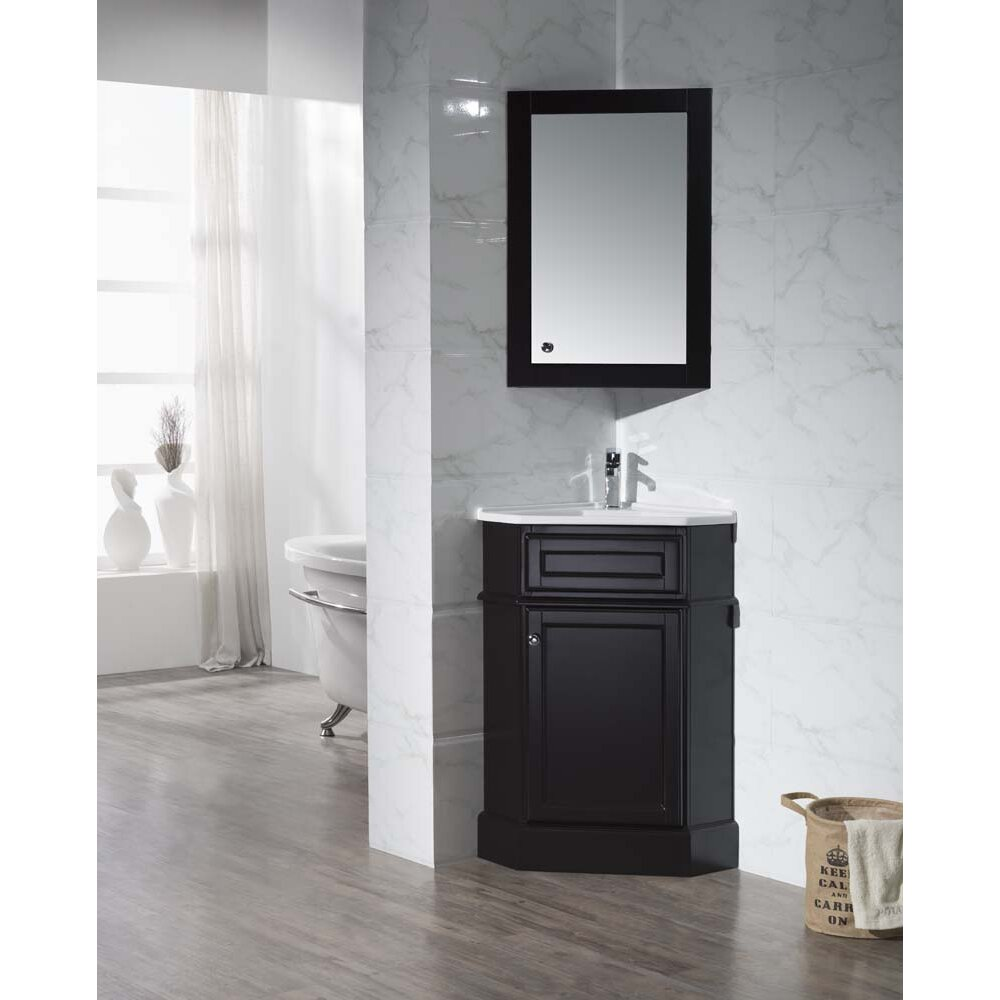 "26.5"" Single Corner Bathroom Vanity Set With Mirror"
