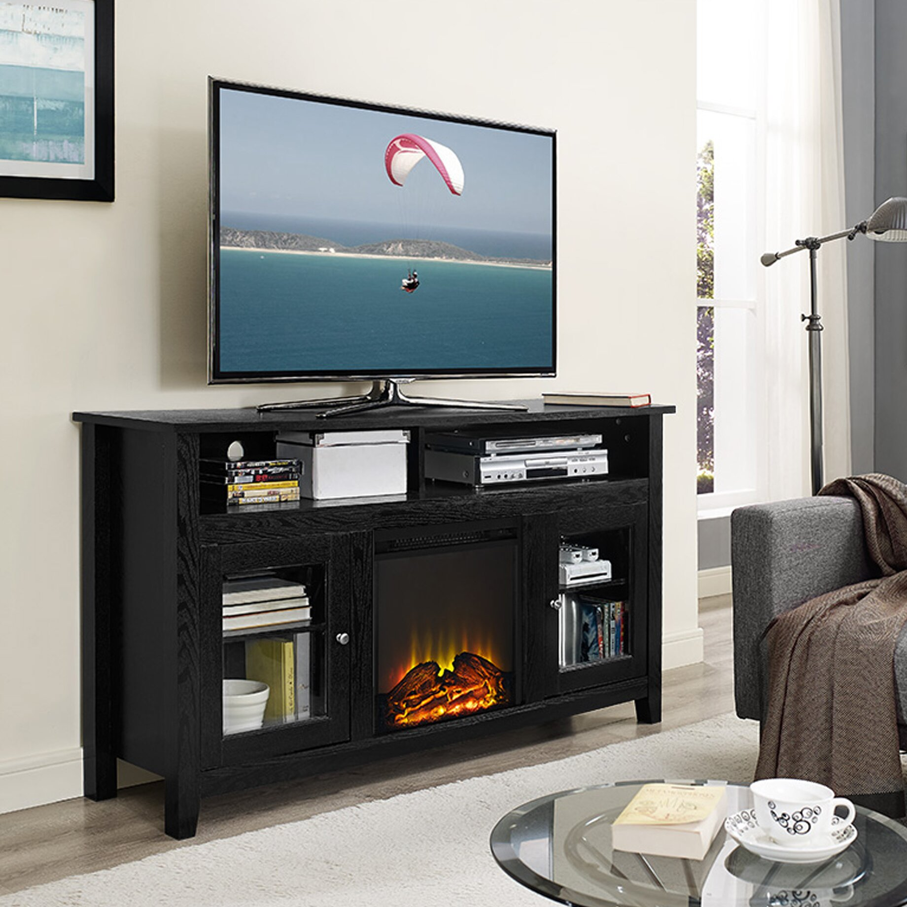 highboy tv stand with electric fireplace wayfair. Black Bedroom Furniture Sets. Home Design Ideas
