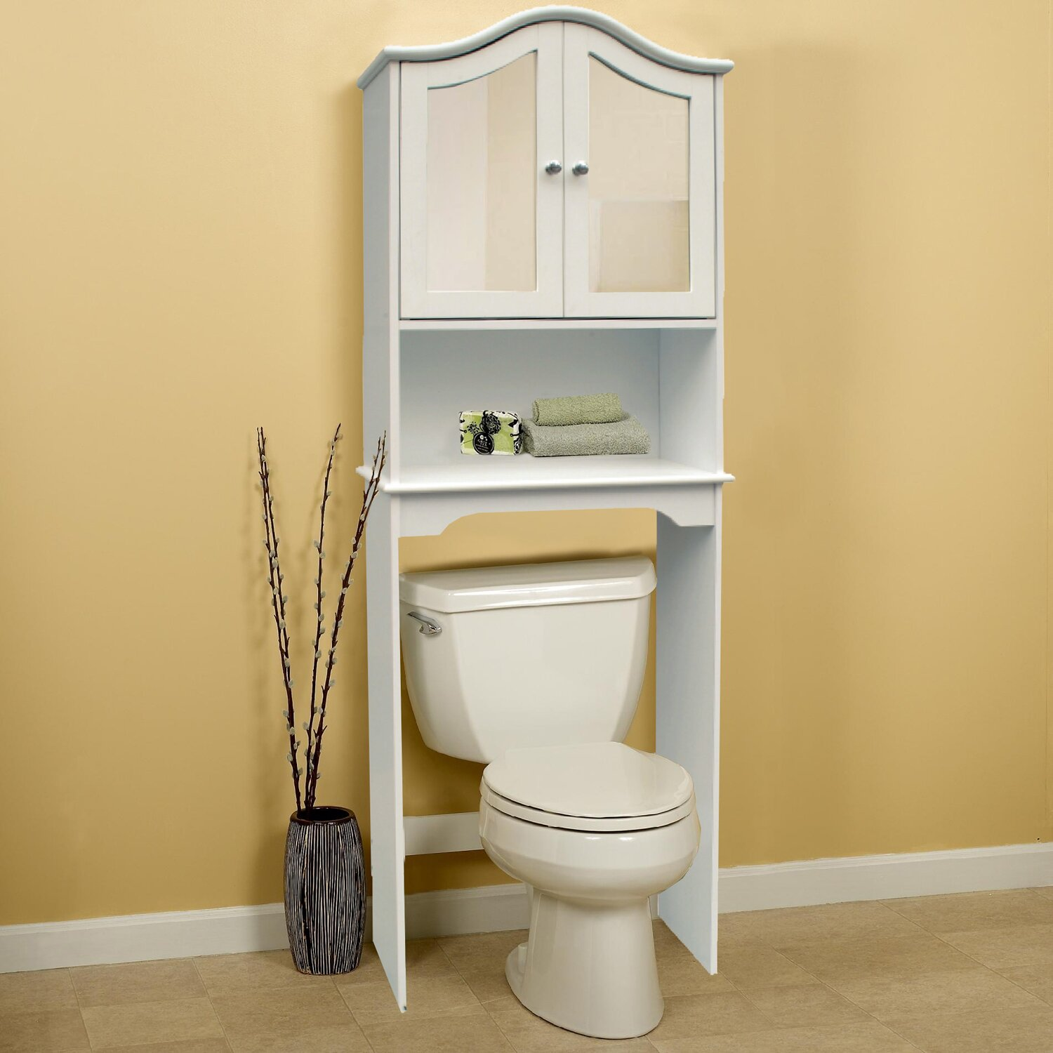 Hazelwood home 24 x 68 free standing over the toilet - Mirrored free standing bathroom cabinet ...