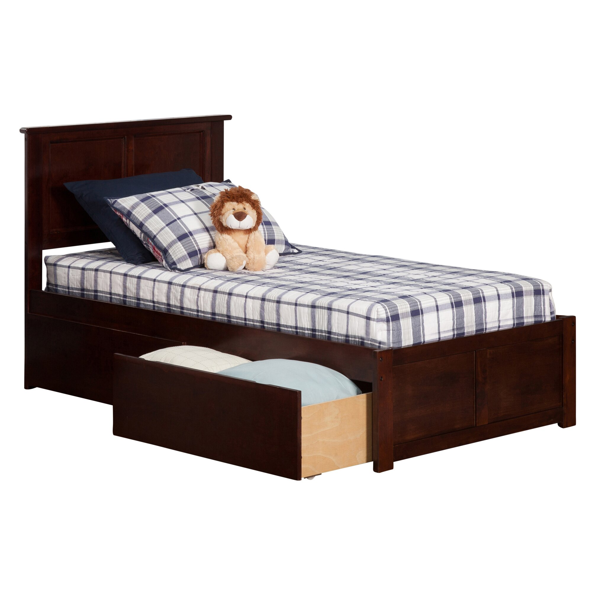 Marjorie Extra Long Twin Panel Bed With Storage Wayfair