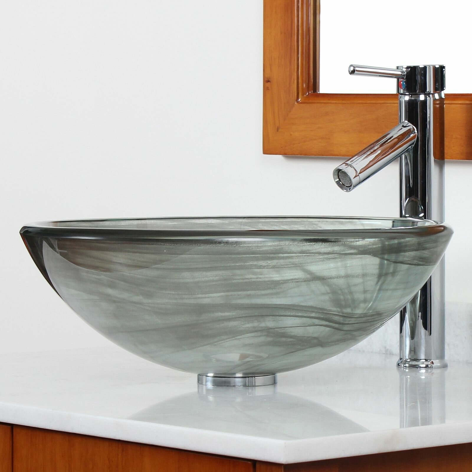 Glass Bowl Sink Bathroom : ... Layered Tempered Glass Bowl Vessel Bathroom Sink & Reviews Wayfair