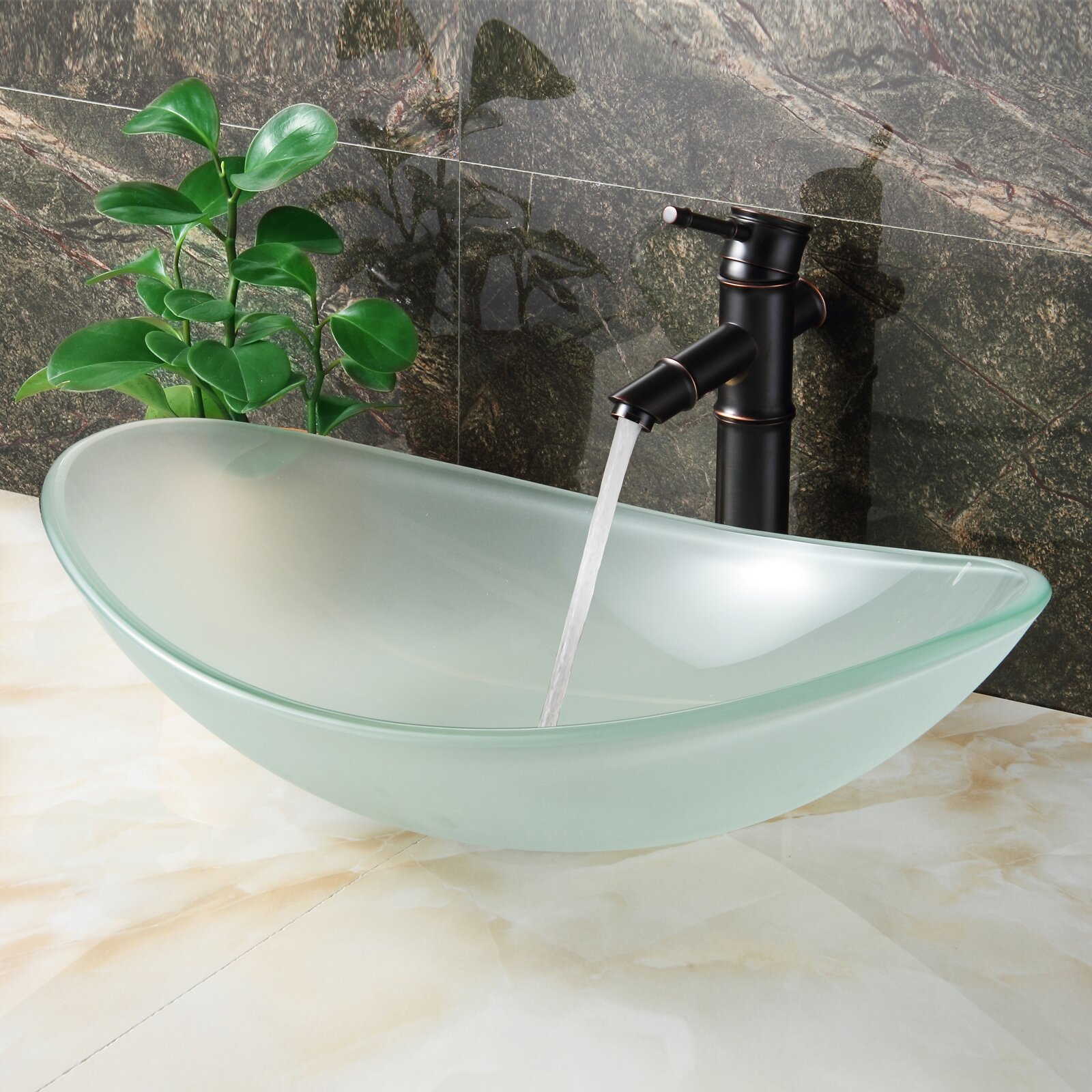 elite layered tempered glass boat shaped bowl 11462