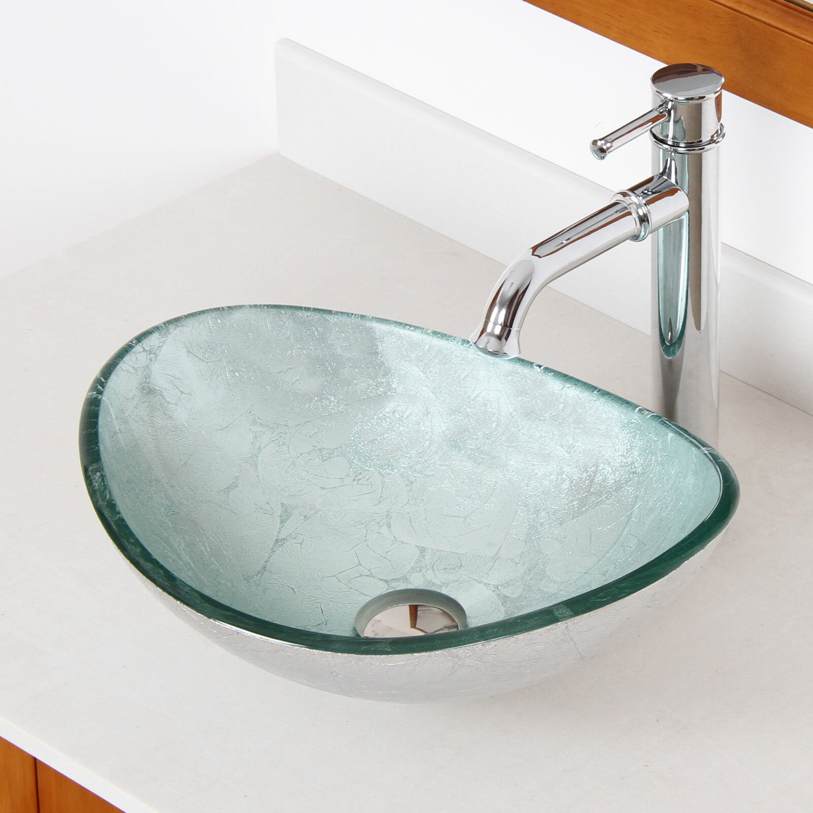 Hand Painted Foil Boat Shaped Oval Bowl Bottom Vessel Bathroom Sink Wayfair