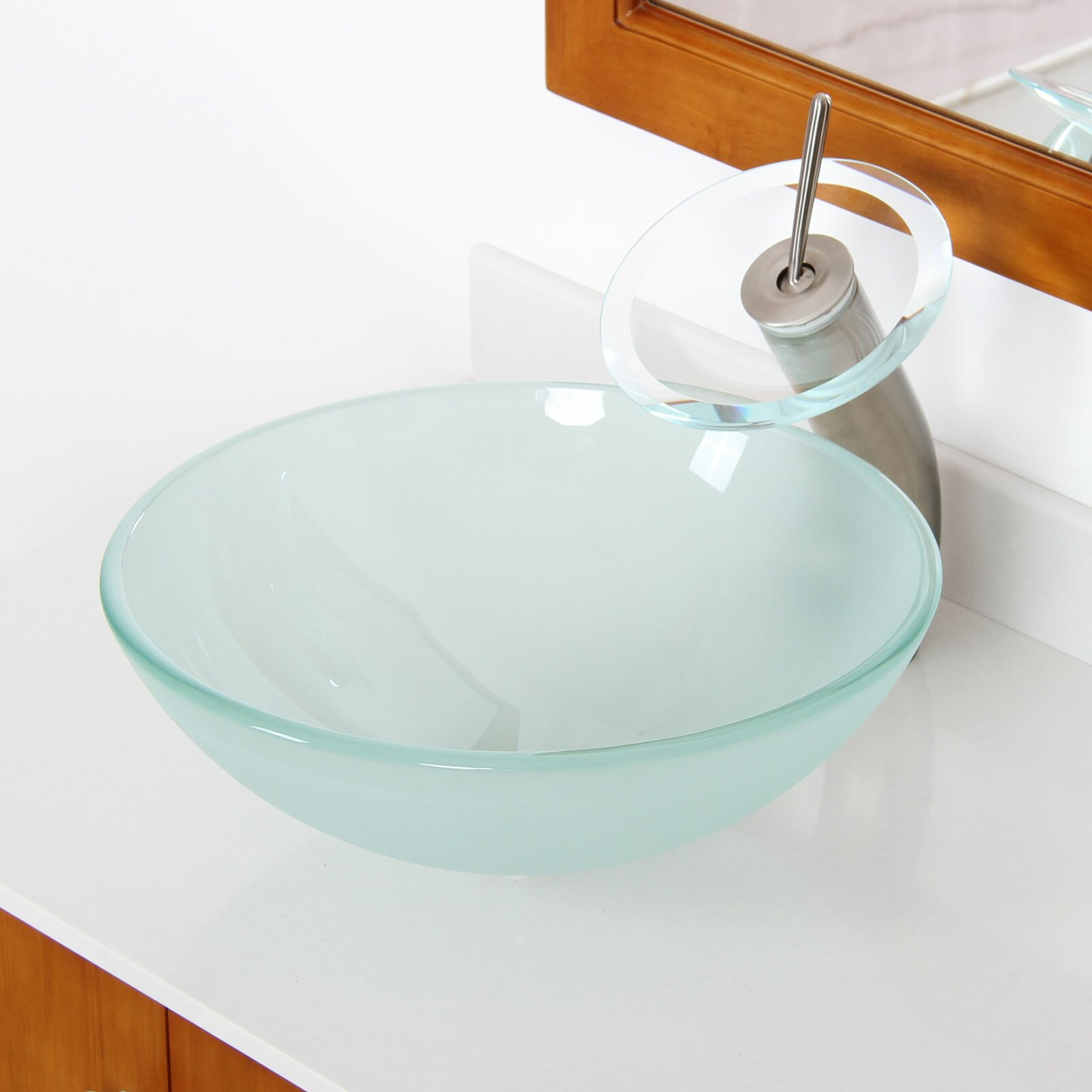 Round Bathroom Sink Bowls : Double Layered Tempered Glass Round Bowl Vessel Bathroom Sink by Elite
