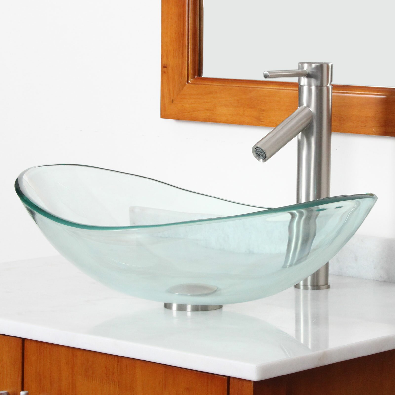 ... Glass Boat Shaped Bowl Vessel Bathroom Sink & Reviews Wayfair
