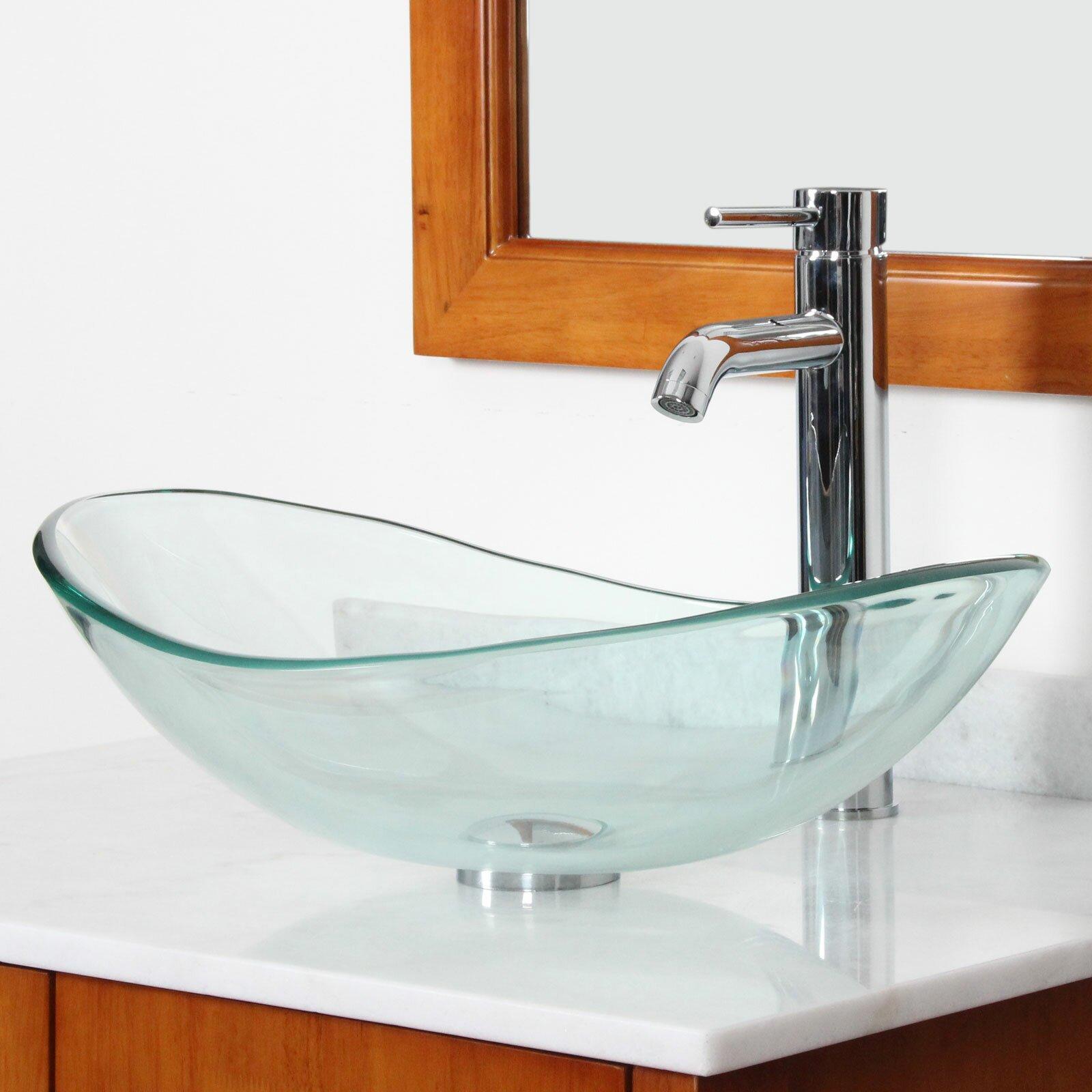 Glass Bathroom Sink Bowls : Tempered Glass Boat Shaped Bowl Vessel Bathroom Sink Wayfair