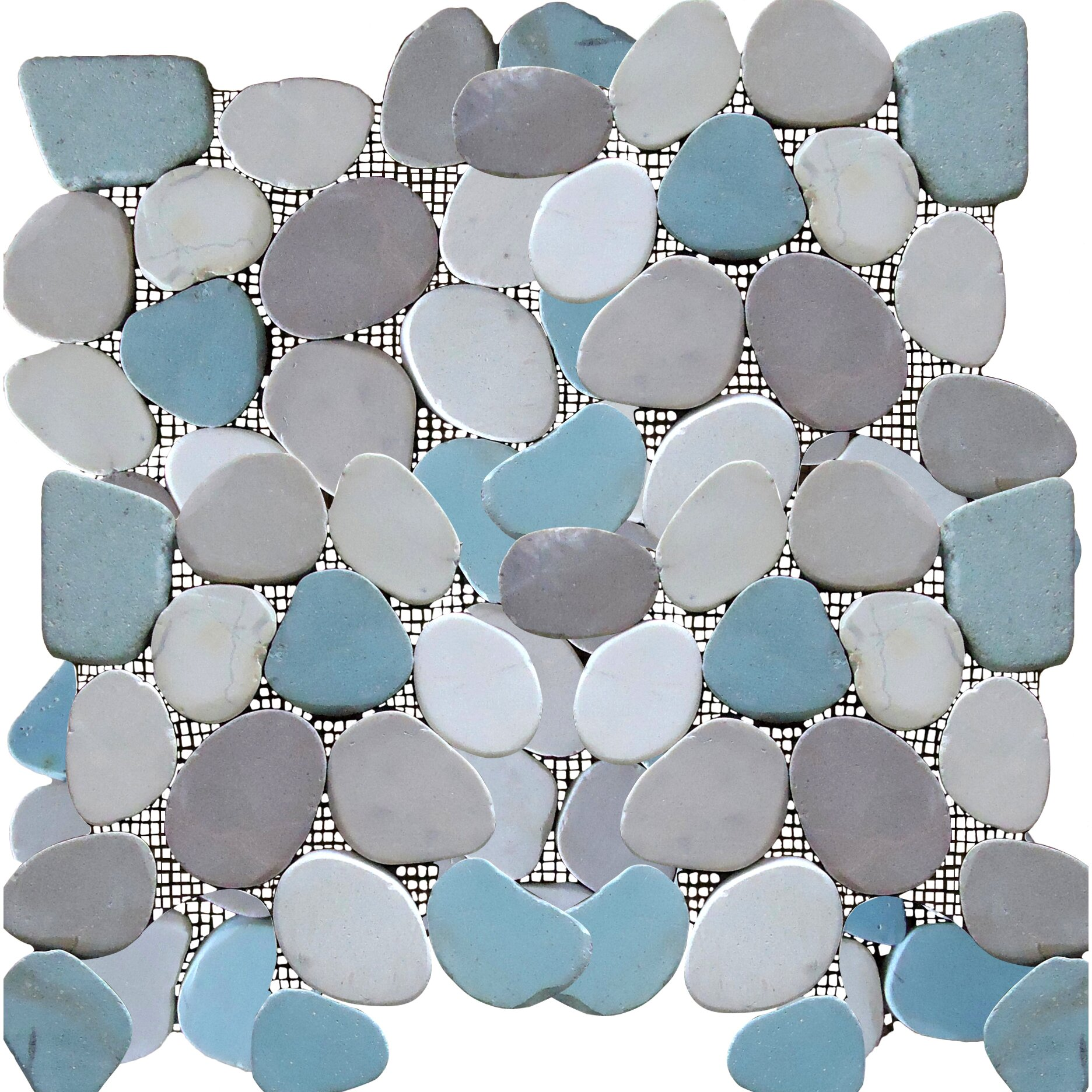 Rocha Random Sized Natural Stone Pebble Tile In Multi