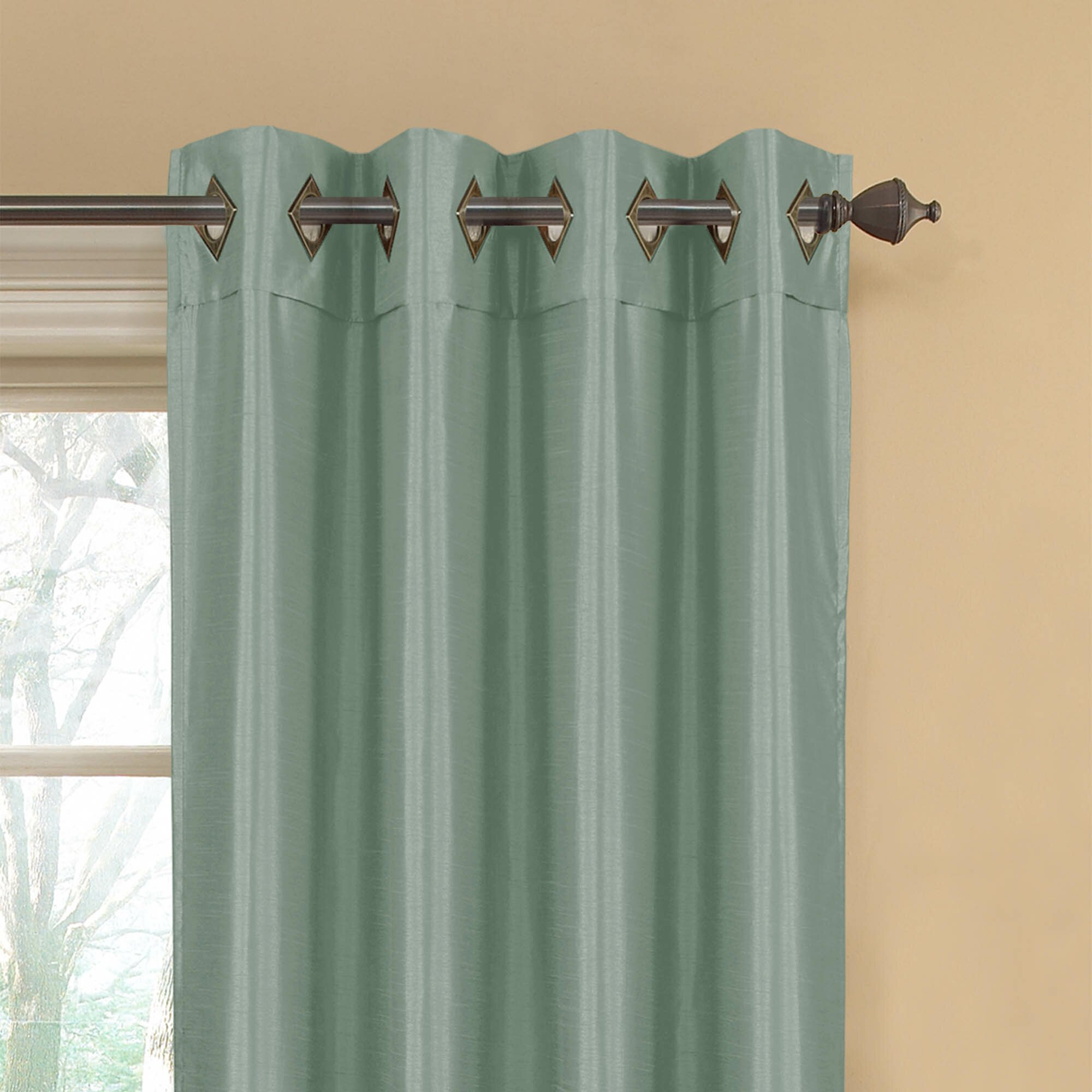 Window Elements Kim Faux Silk Extra Wide Grommet Curtain Panel Set Of 2 Reviews Wayfair