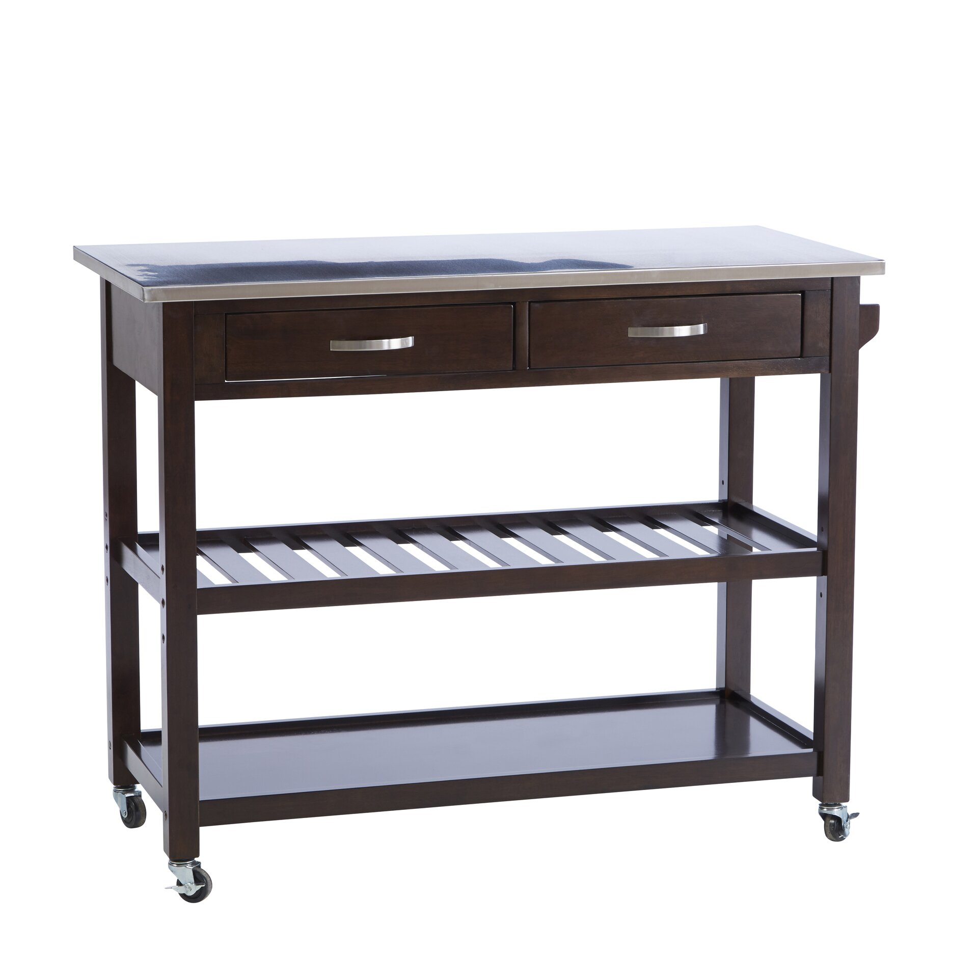 Byrnedale Kitchen Island With Stainless Steel Top Wayfair