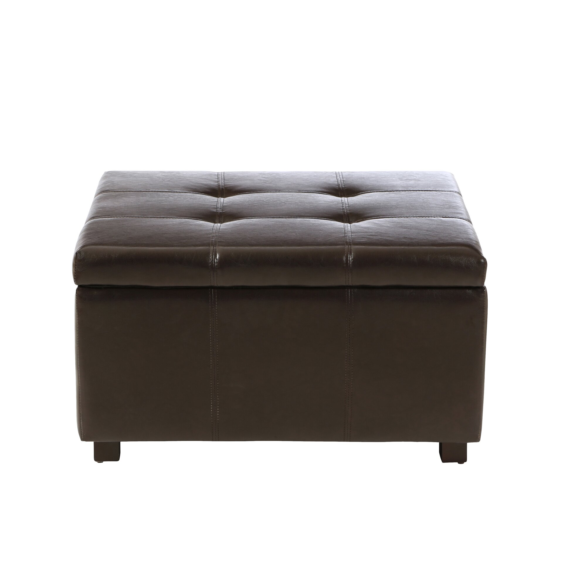 Three Posts Polycarp Storage Ottoman Reviews: Ehlert Faux Leather Storage Ottoman