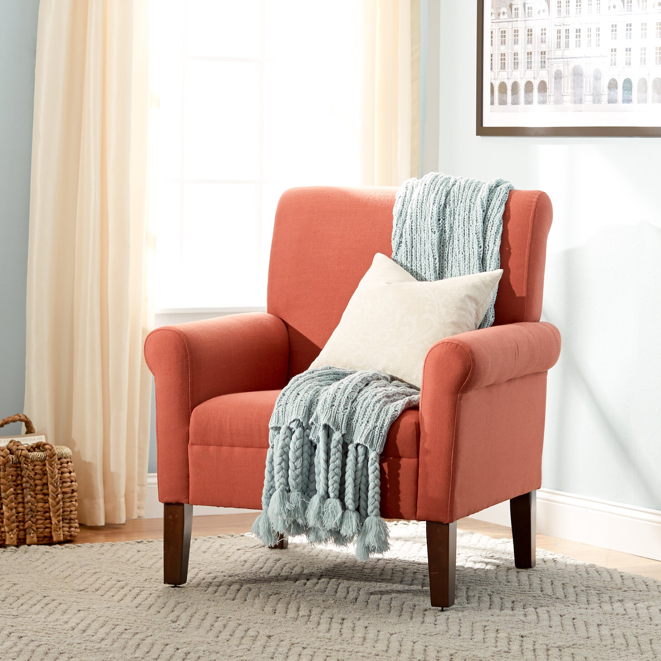 Red Accent Chair With White Throw Blanket: Willrich Arm Chair
