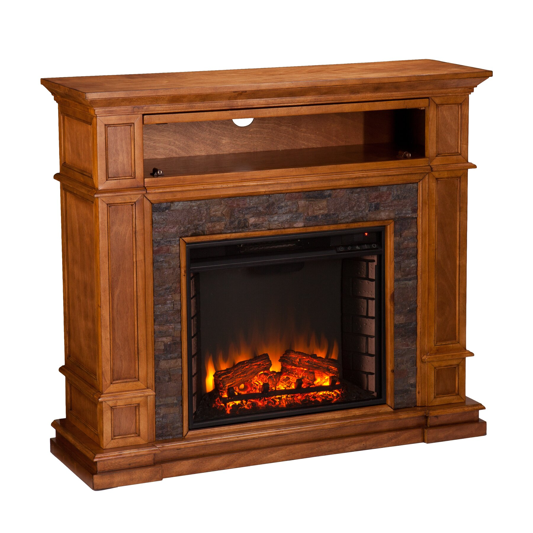 birmingham simulated stone media center electric fireplace
