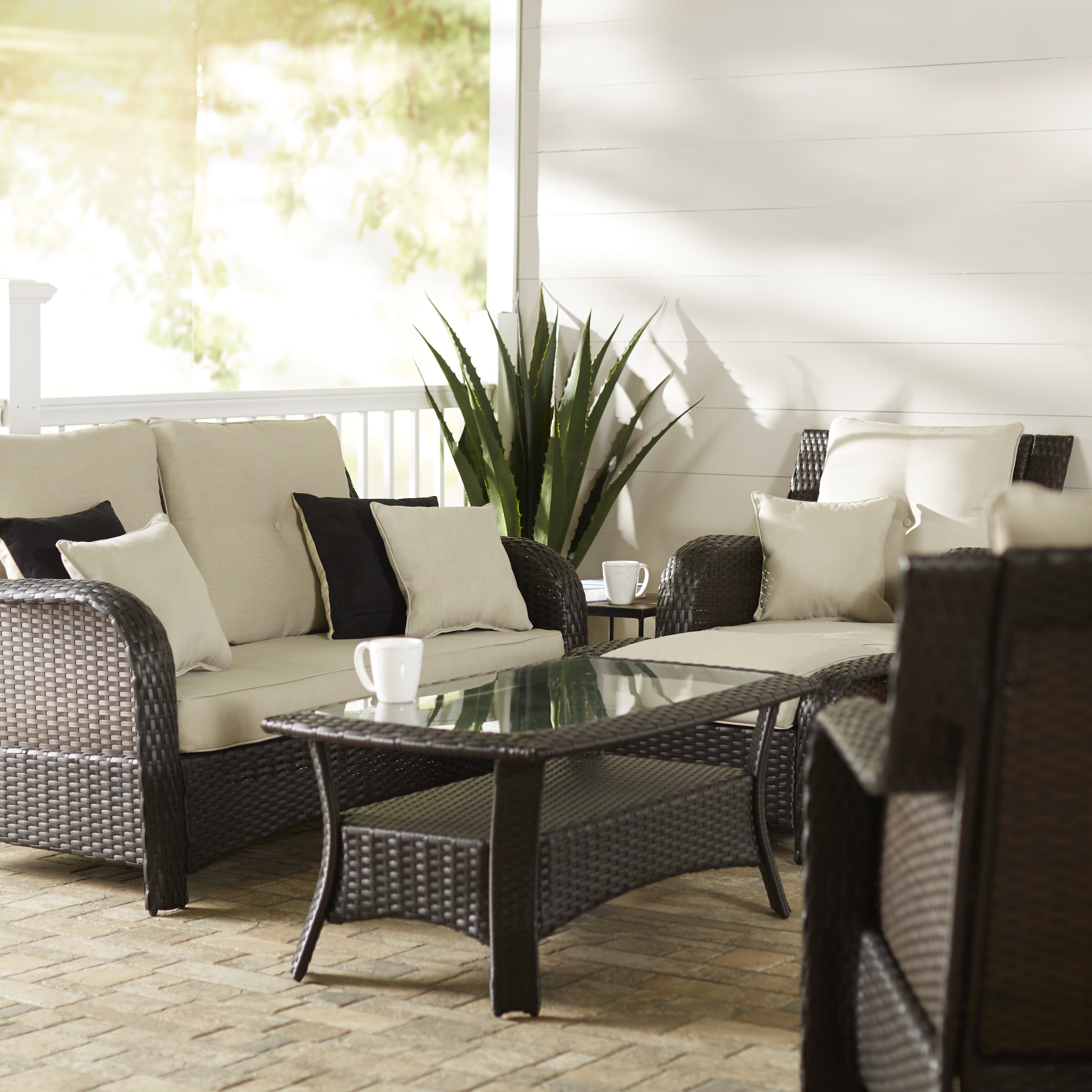 three posts harger 6 piece outdoor lounge set reviews. Black Bedroom Furniture Sets. Home Design Ideas