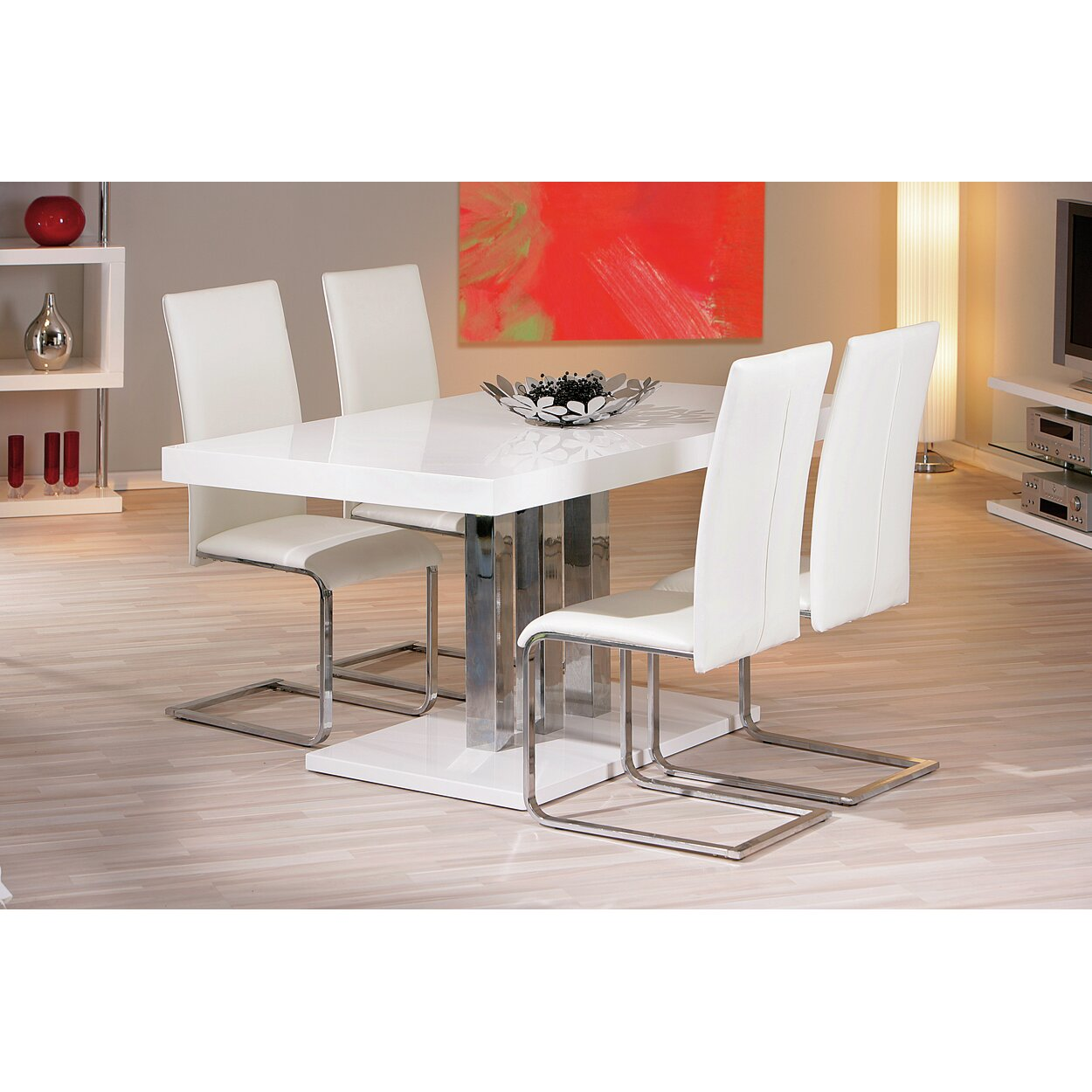 House additions palazzo dining table reviews wayfair uk for Table salle a manger laque blanc rallonge
