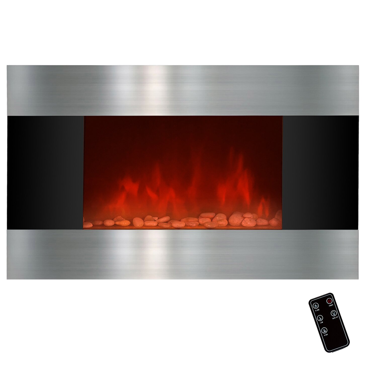 Stainless Steel And Black Wall Mount Electric Fireplace Wayfair