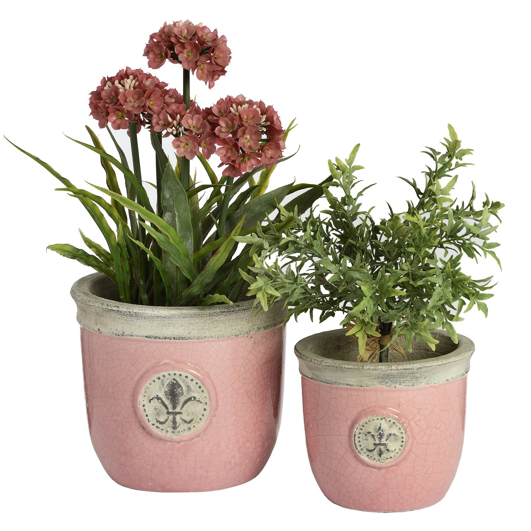 fleur de lys 2 piece round pot planter set wayfair uk. Black Bedroom Furniture Sets. Home Design Ideas