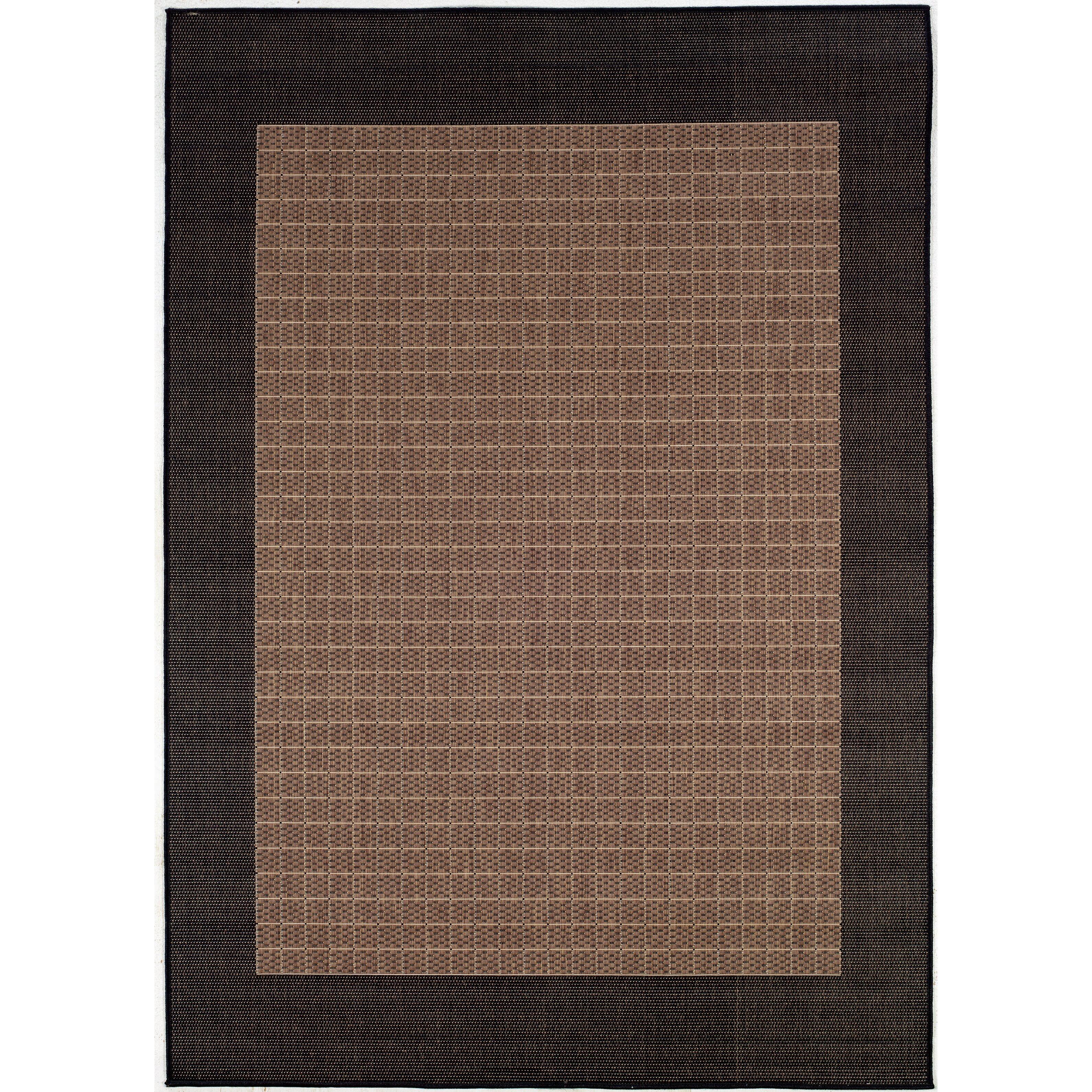 Checkered Outdoor Rug: Couristan Recife Checkered Field Black Cocoa/Dark Brown