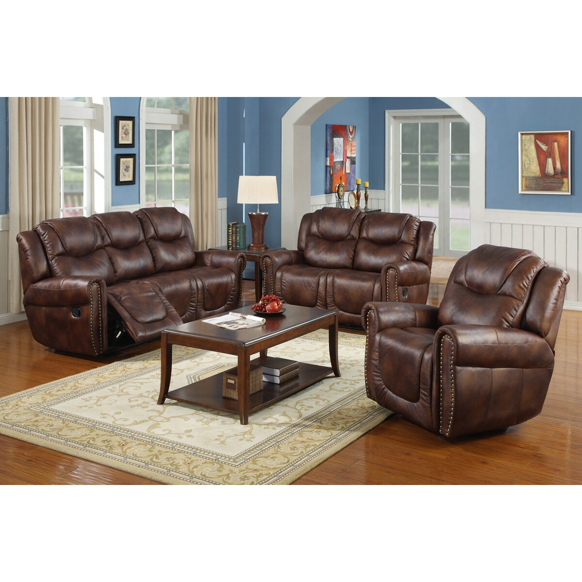 Toledo 3 piece bonded leather reclining living room sofa for Living room 3 piece sets