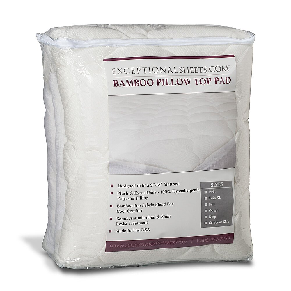 eLuxury Supply Extra Plush Bamboo Rayon Top Mattress Pad