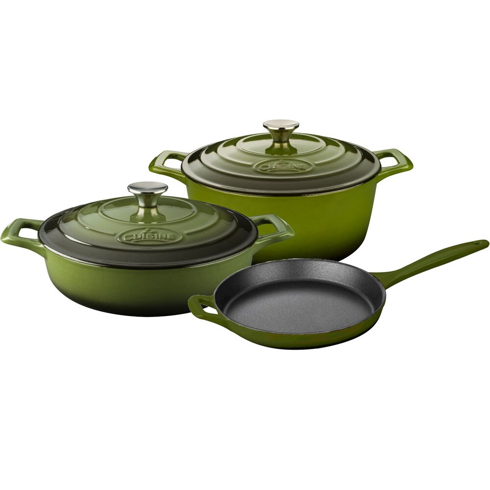 Round pro enameled round cast iron 5 piece cookware set for Art cuisine cookware