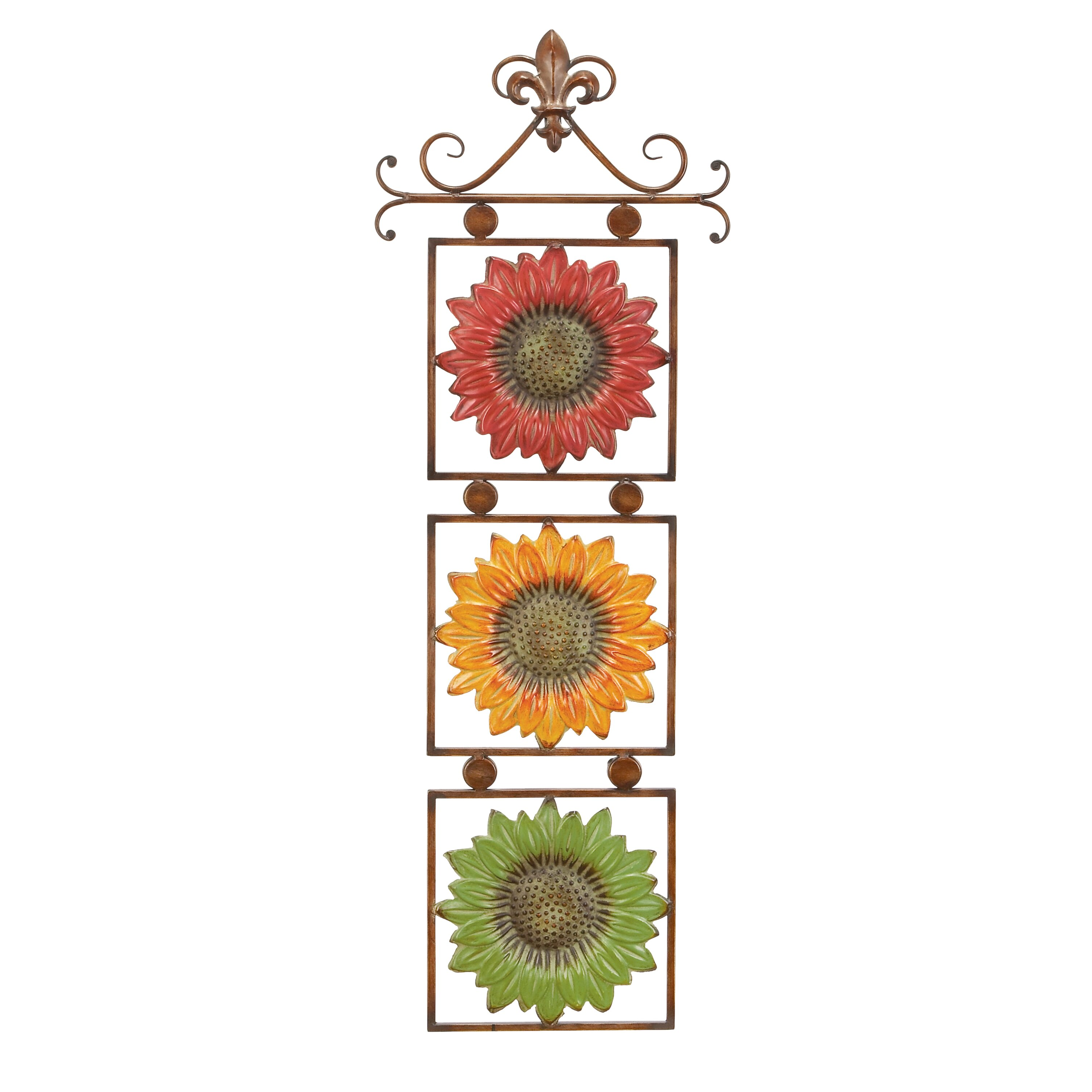 metal sunflower wall d cor joss main. Black Bedroom Furniture Sets. Home Design Ideas